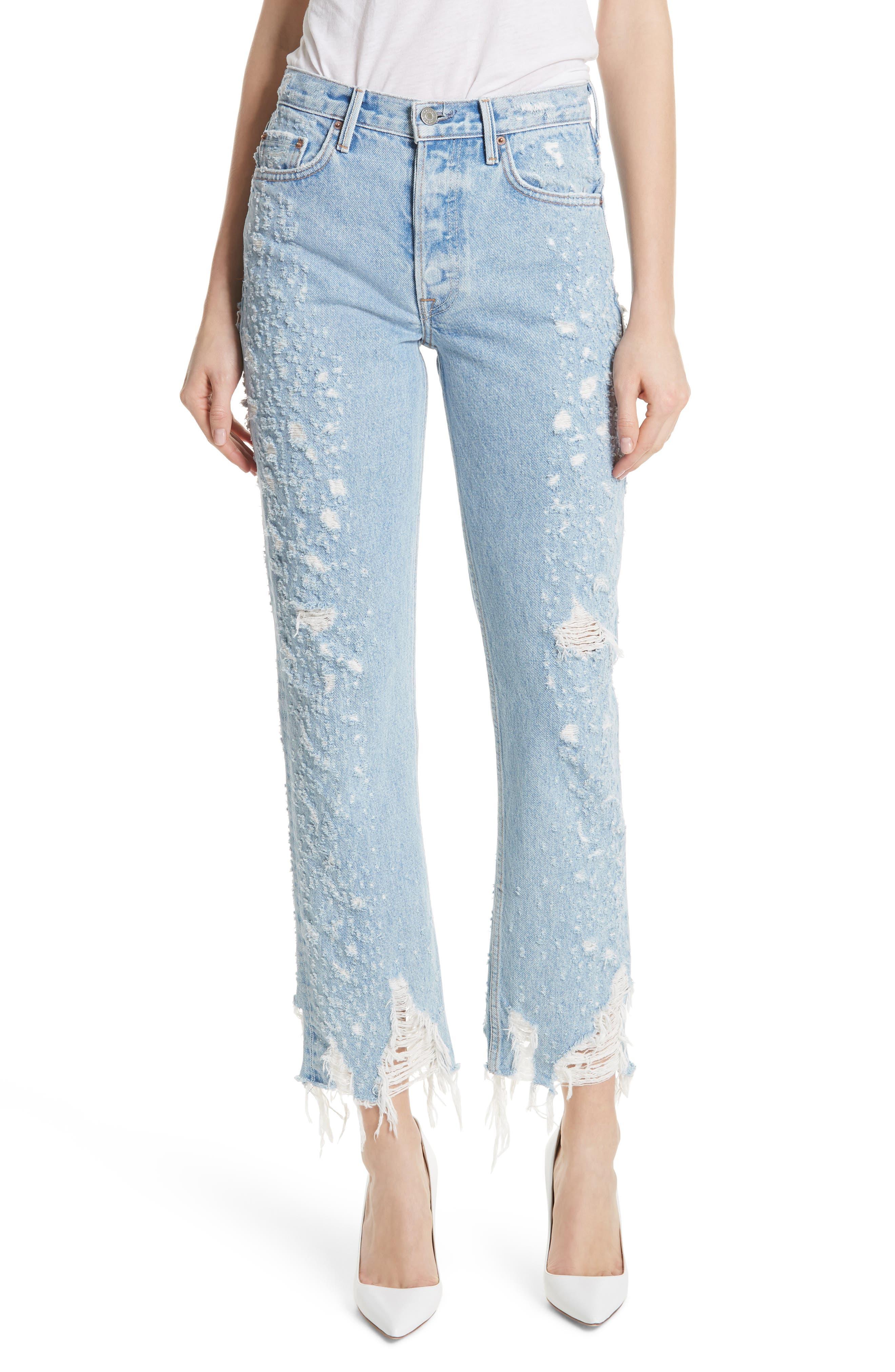 Helena Rigid High Waist Straight Jeans,                             Main thumbnail 1, color,                             BURN OUT