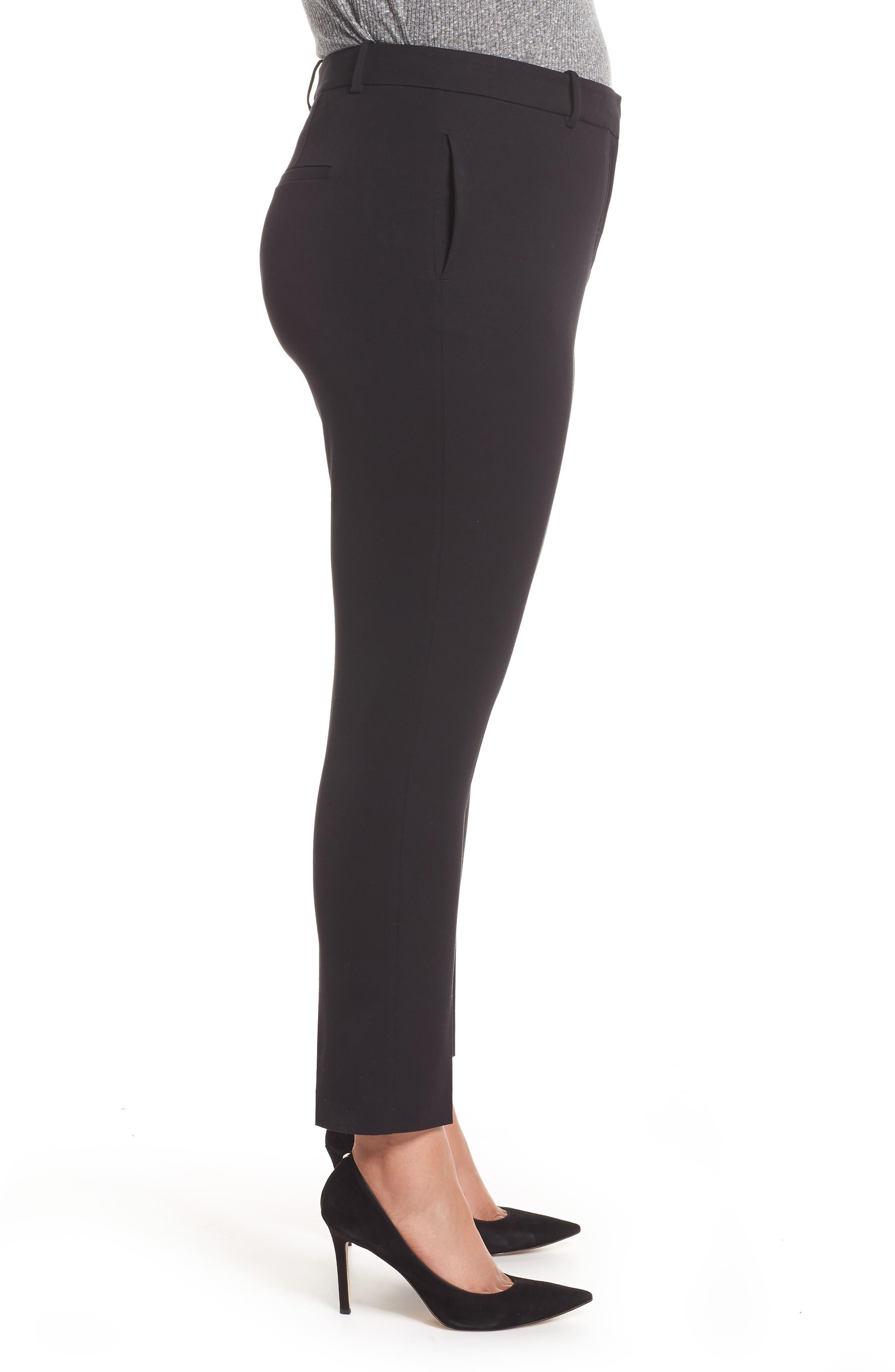 Stretch Cotton Blend Twill Ankle Pants,                             Alternate thumbnail 3, color,                             RICH BLACK