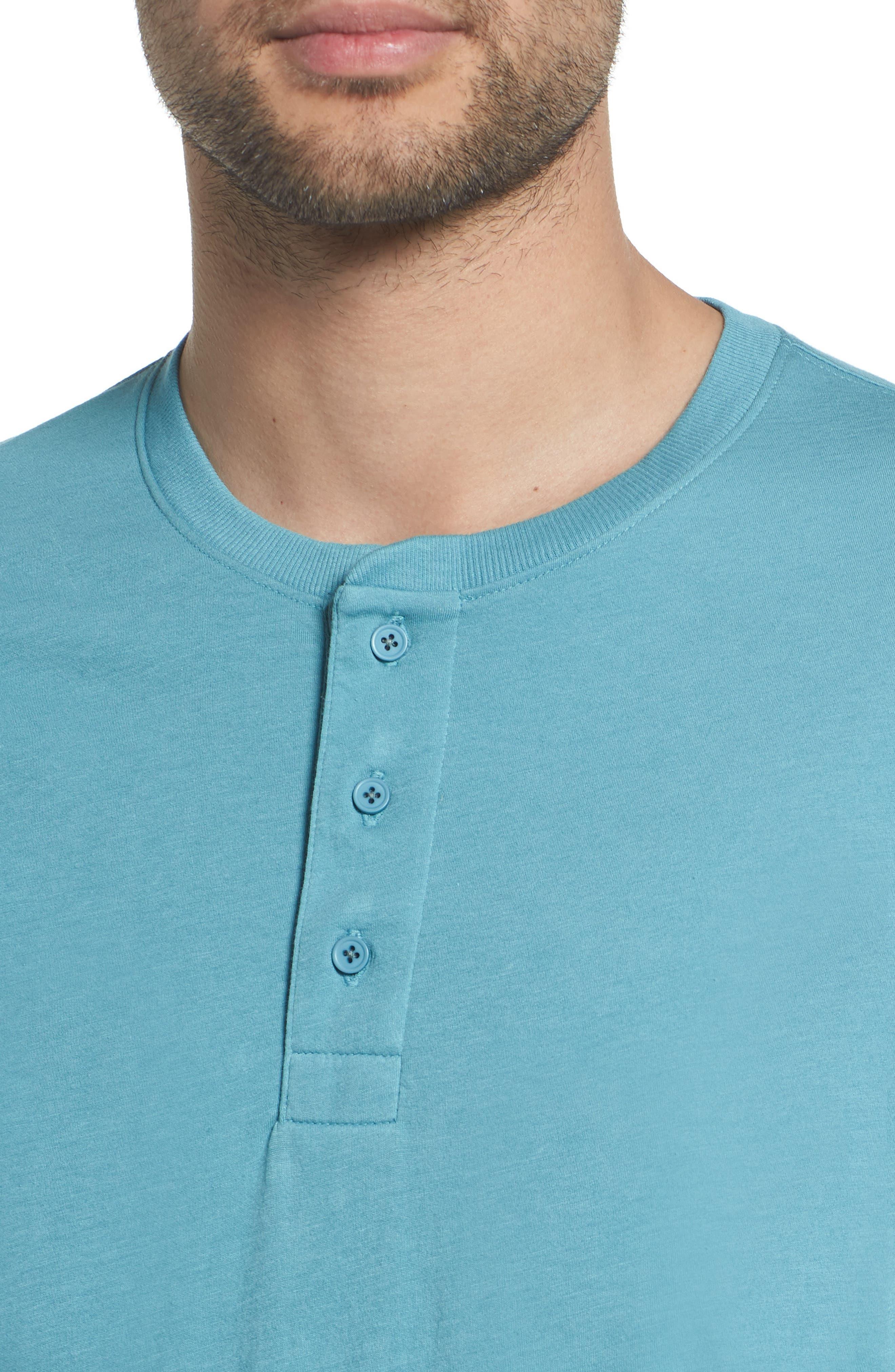 Layered Henley T-Shirt,                             Alternate thumbnail 4, color,                             HARBOR