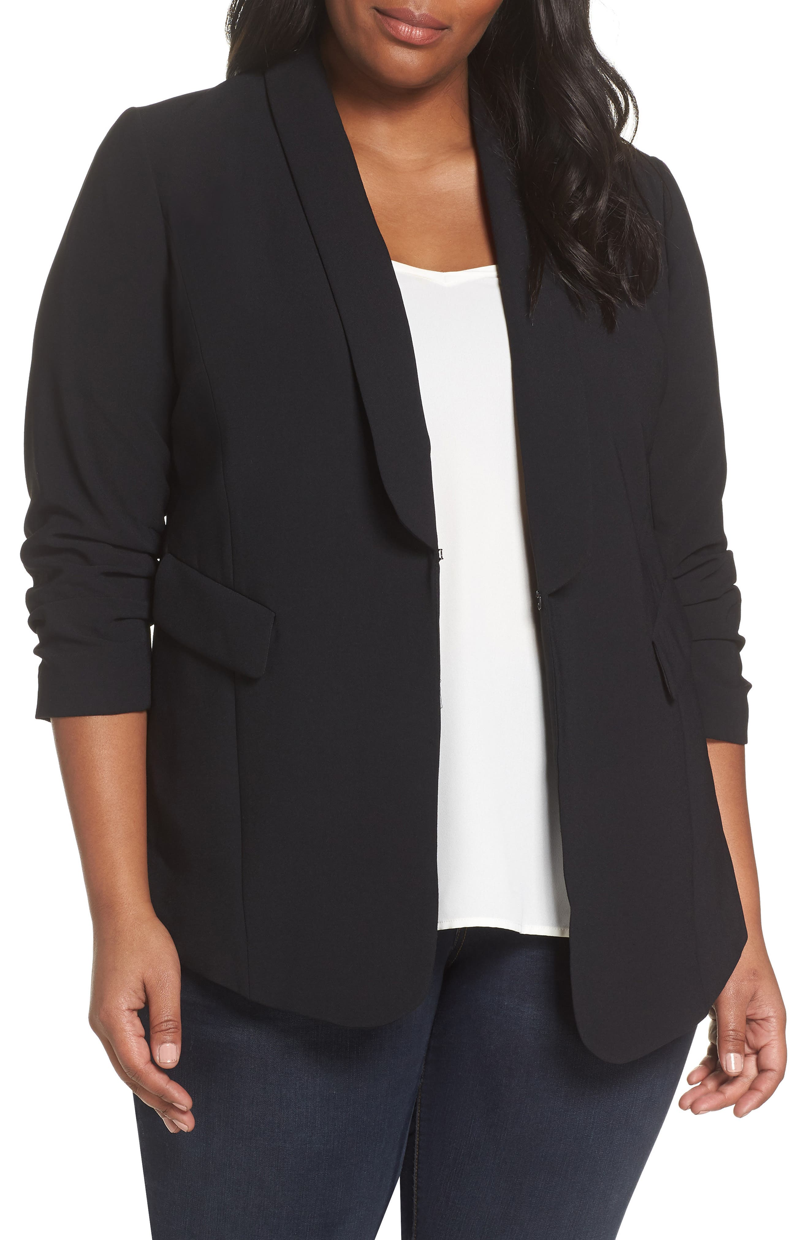 Gathered Sleeve Blazer,                         Main,                         color, BLACK