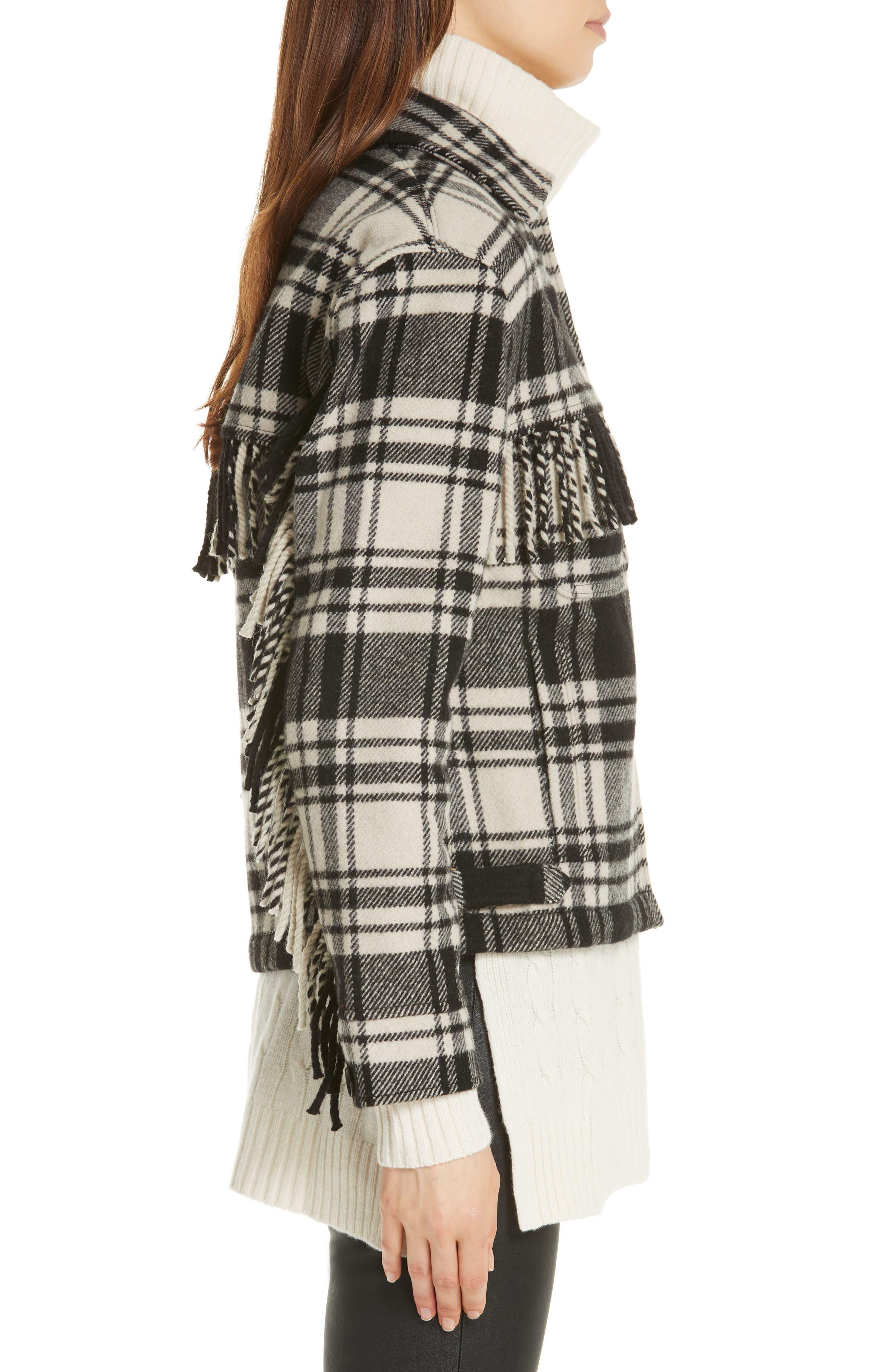 Wool Blend Plaid Jacket,                             Alternate thumbnail 3, color,                             BLACK/ CREAM