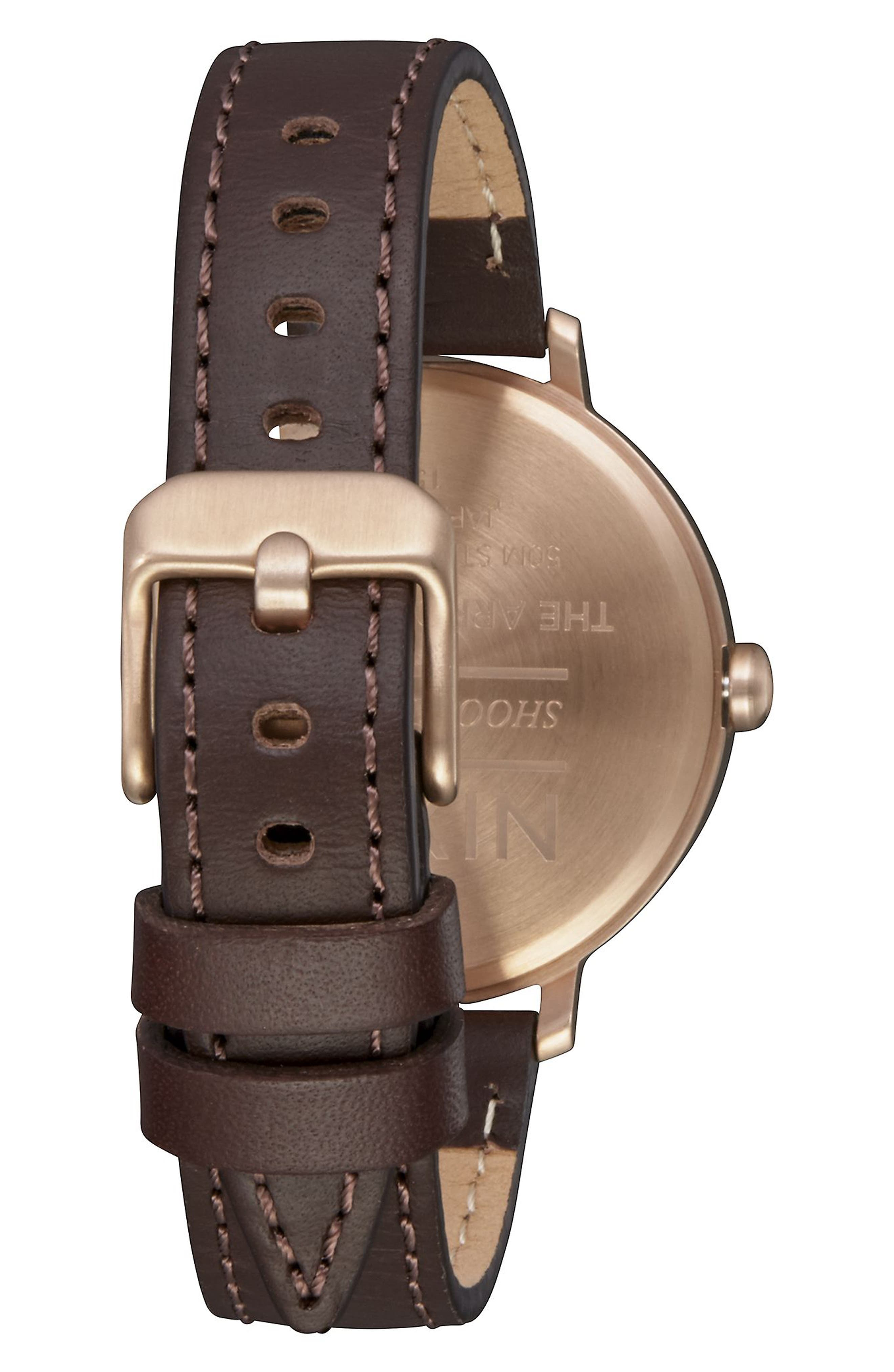 The Arrow Leather Strap Watch, 38mm,                             Alternate thumbnail 2, color,                             BROWN/ WHITE/ ROSE GOLD