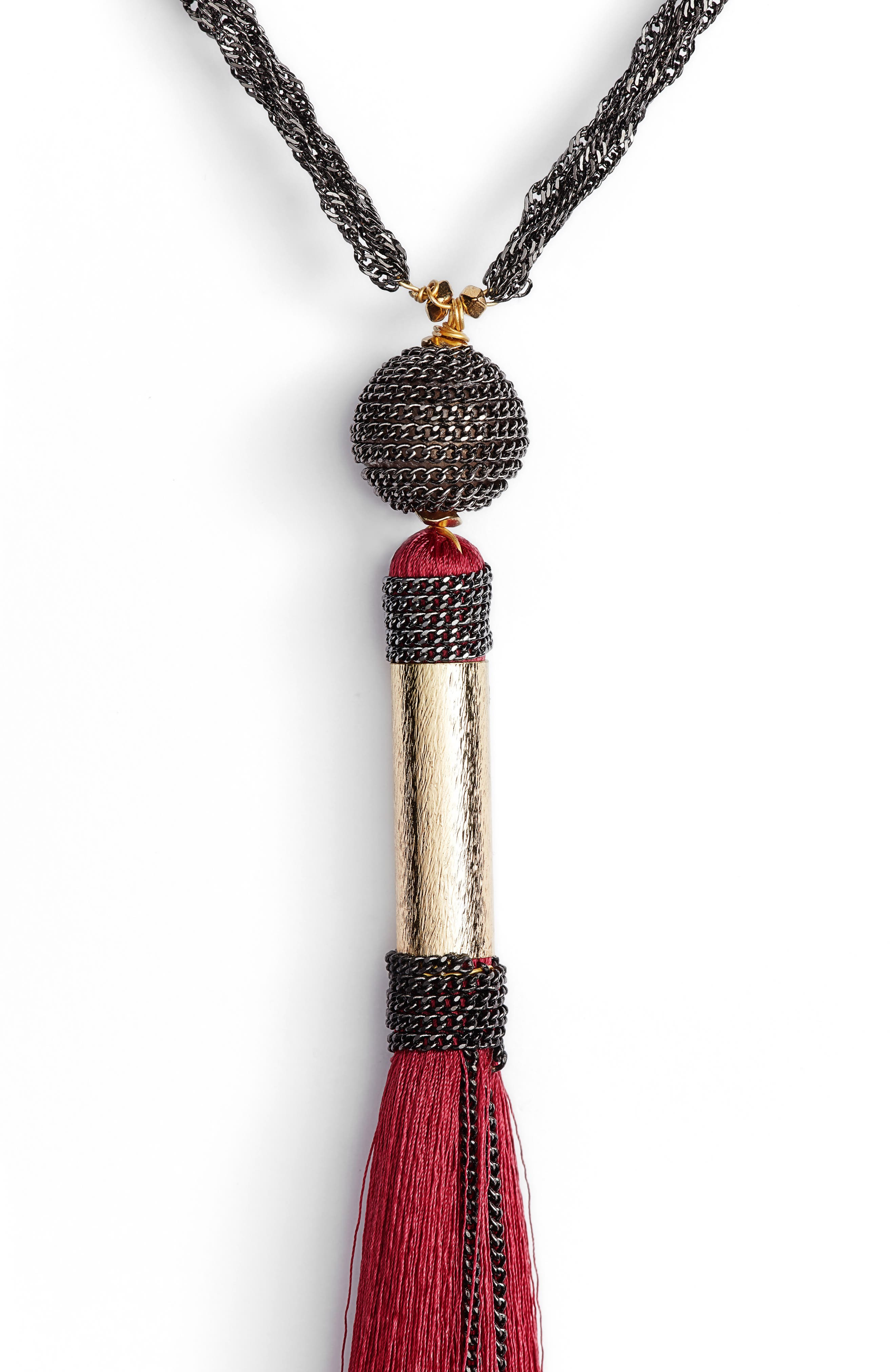 Long Tassel Necklace,                             Alternate thumbnail 3, color,                             600