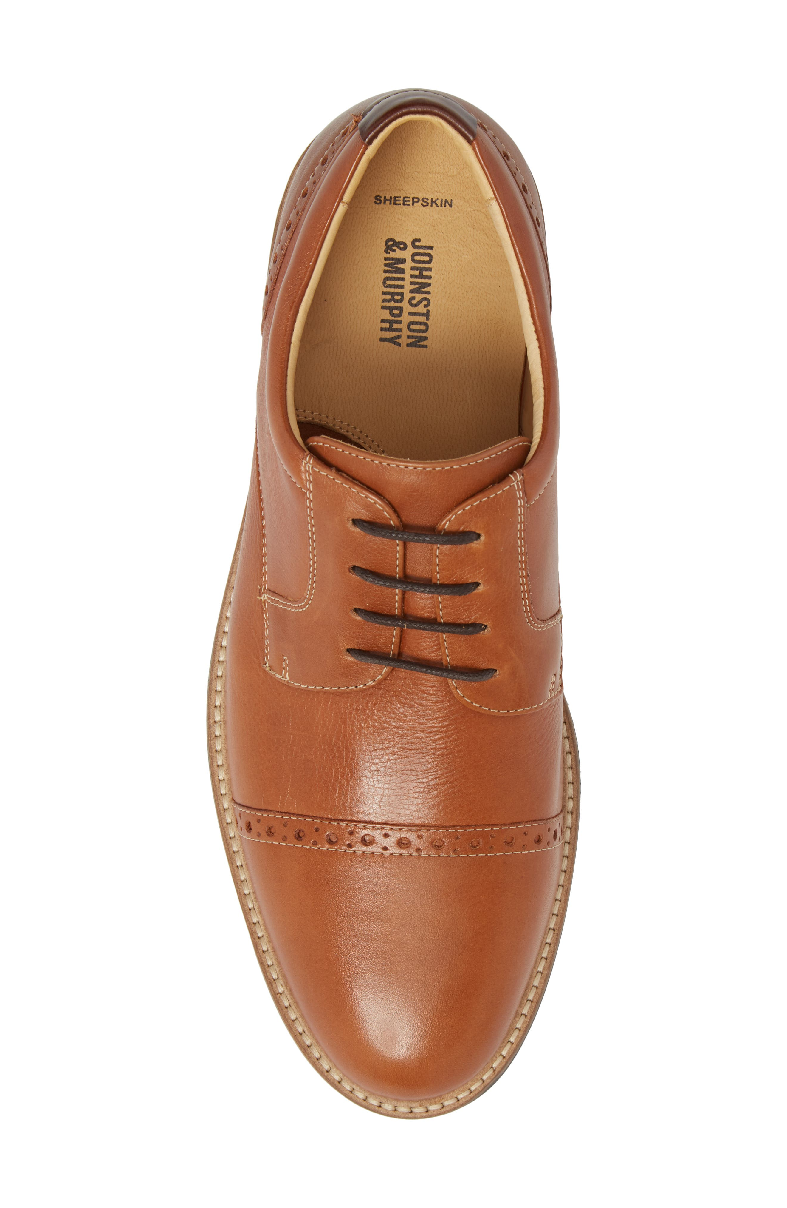 JOHNSTON & MURPHY,                             Barlow Cap Toe Derby,                             Alternate thumbnail 5, color,                             TAN LEATHER