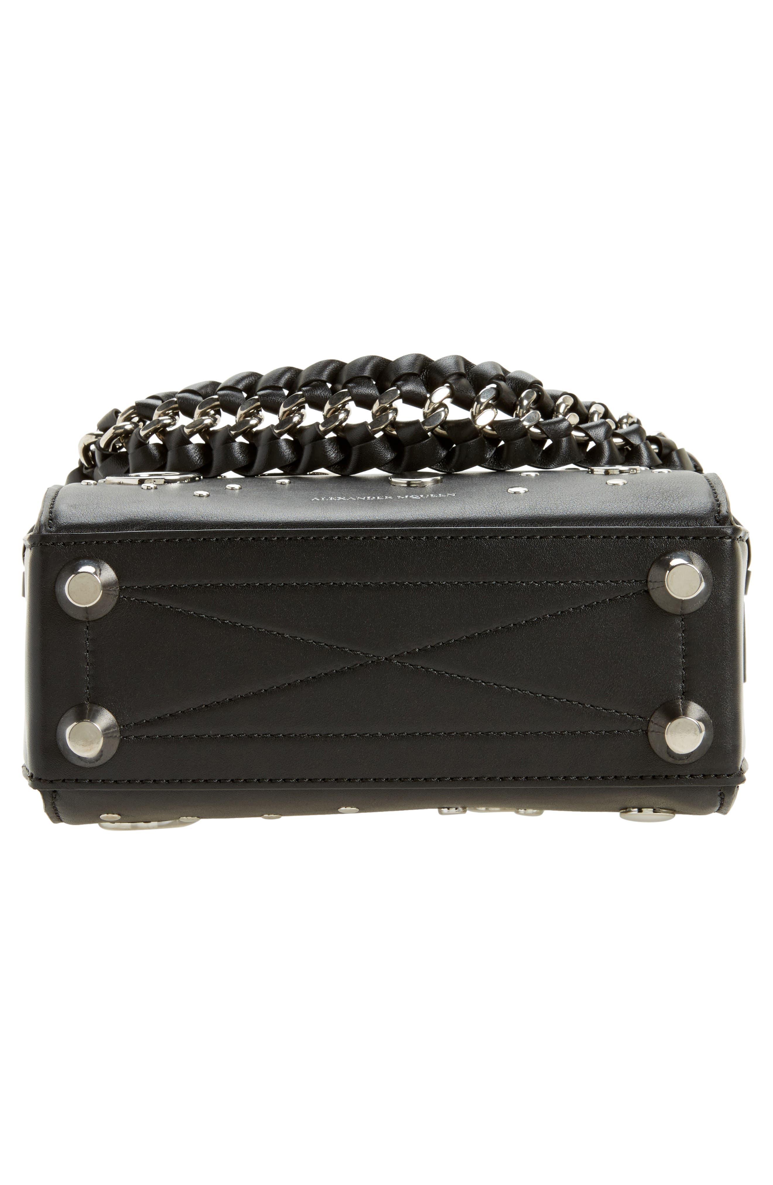 Grommet & Stud Calfskin Leather Box Bag,                             Alternate thumbnail 6, color,                             001