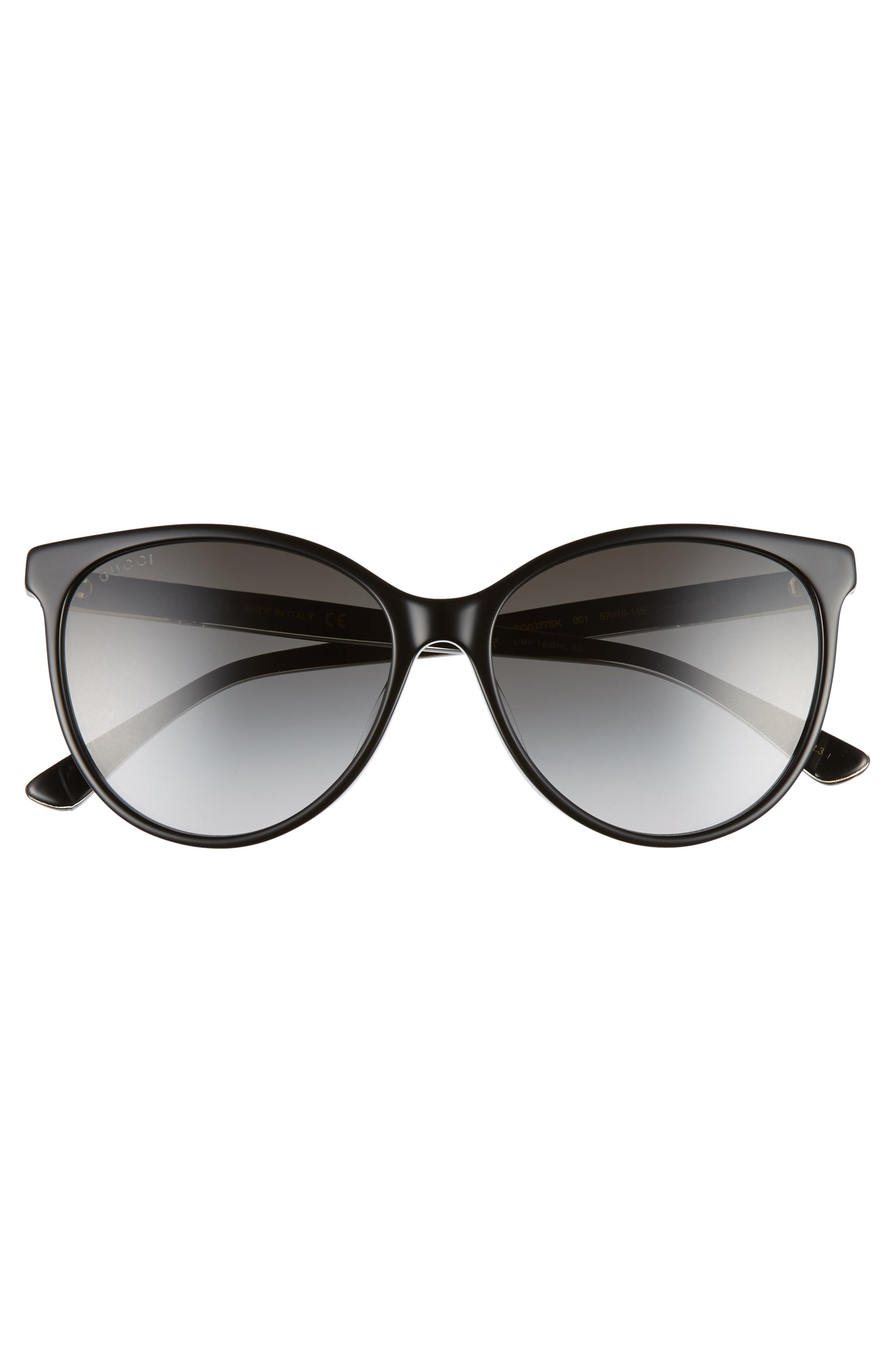 GUCCI,                             57mm Cat Eye Sunglasses,                             Alternate thumbnail 3, color,                             BLACK/ CRYSTAL/ GREY GRADIENT