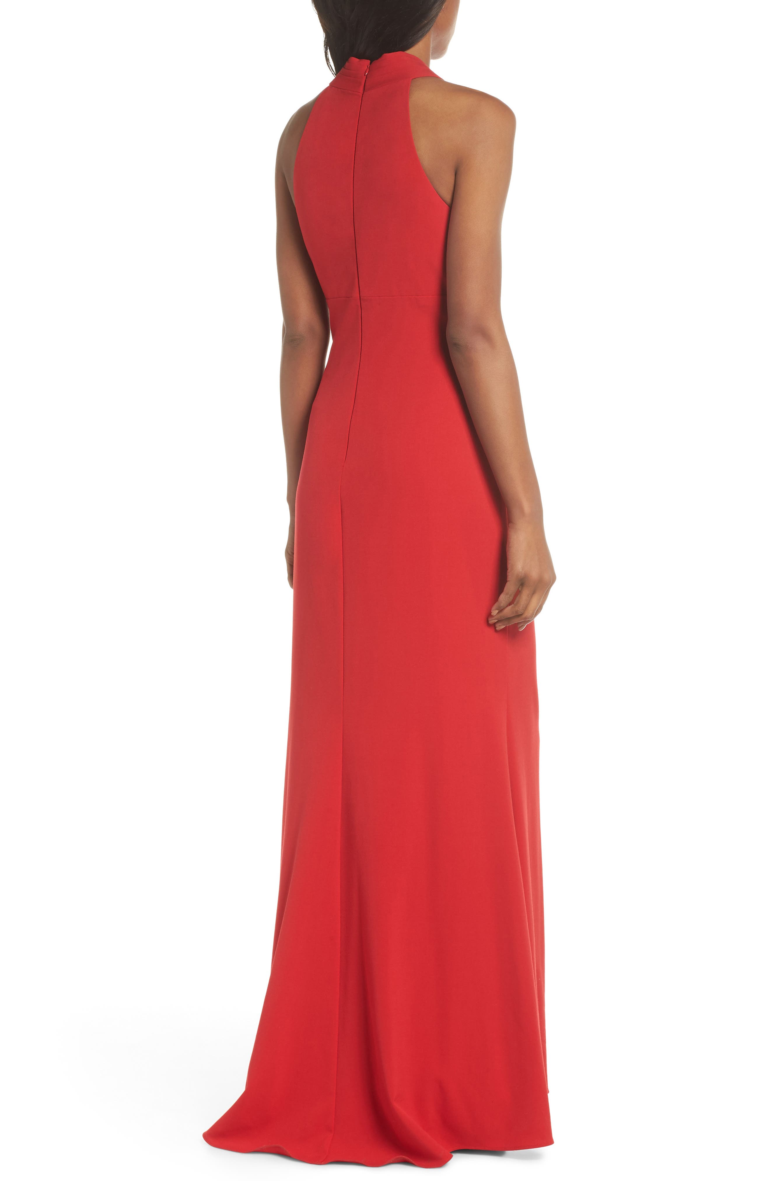 Side Pleat Crossneck Gown,                             Alternate thumbnail 2, color,                             RED