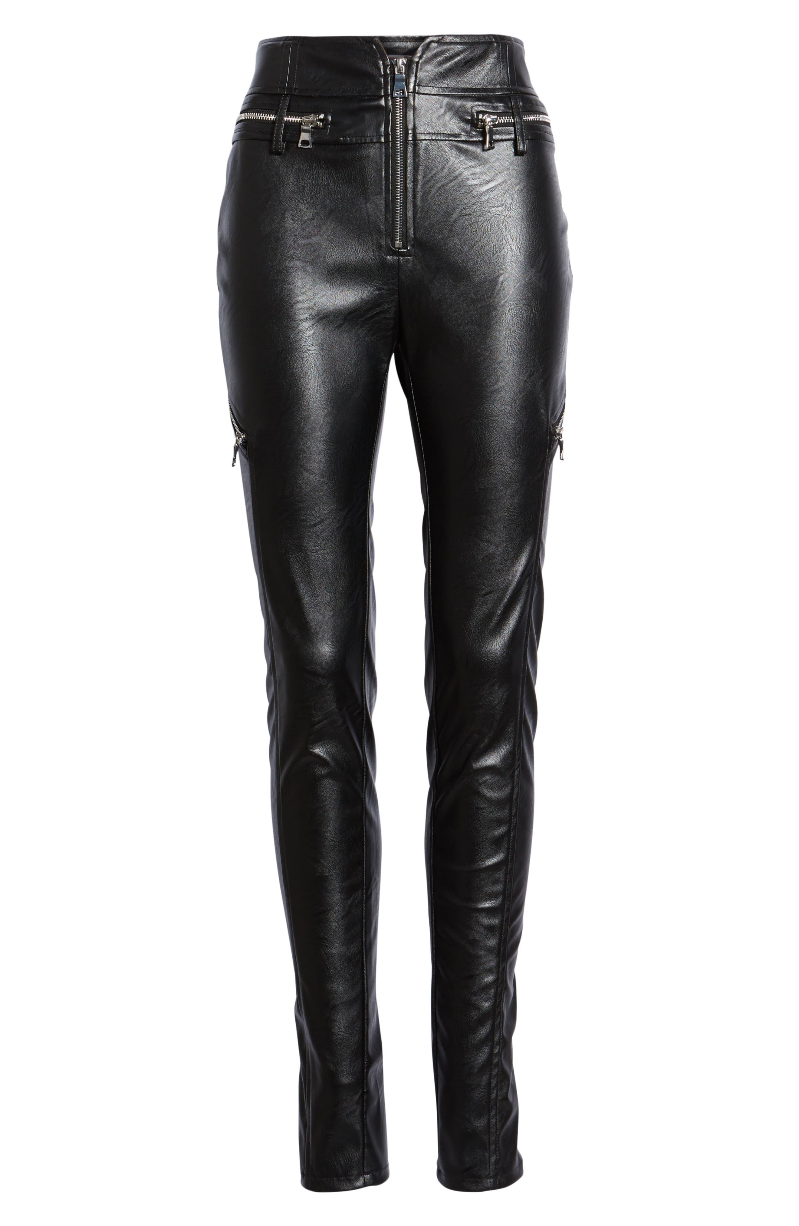 TIGER MIST,                             Lennon Zip Detail Faux Leather Pants,                             Alternate thumbnail 7, color,                             001