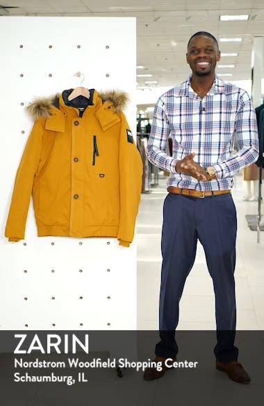 Bardu Waterproof Bomber Jacket with Detachable Hood and Faux Fur Trim, sales video thumbnail