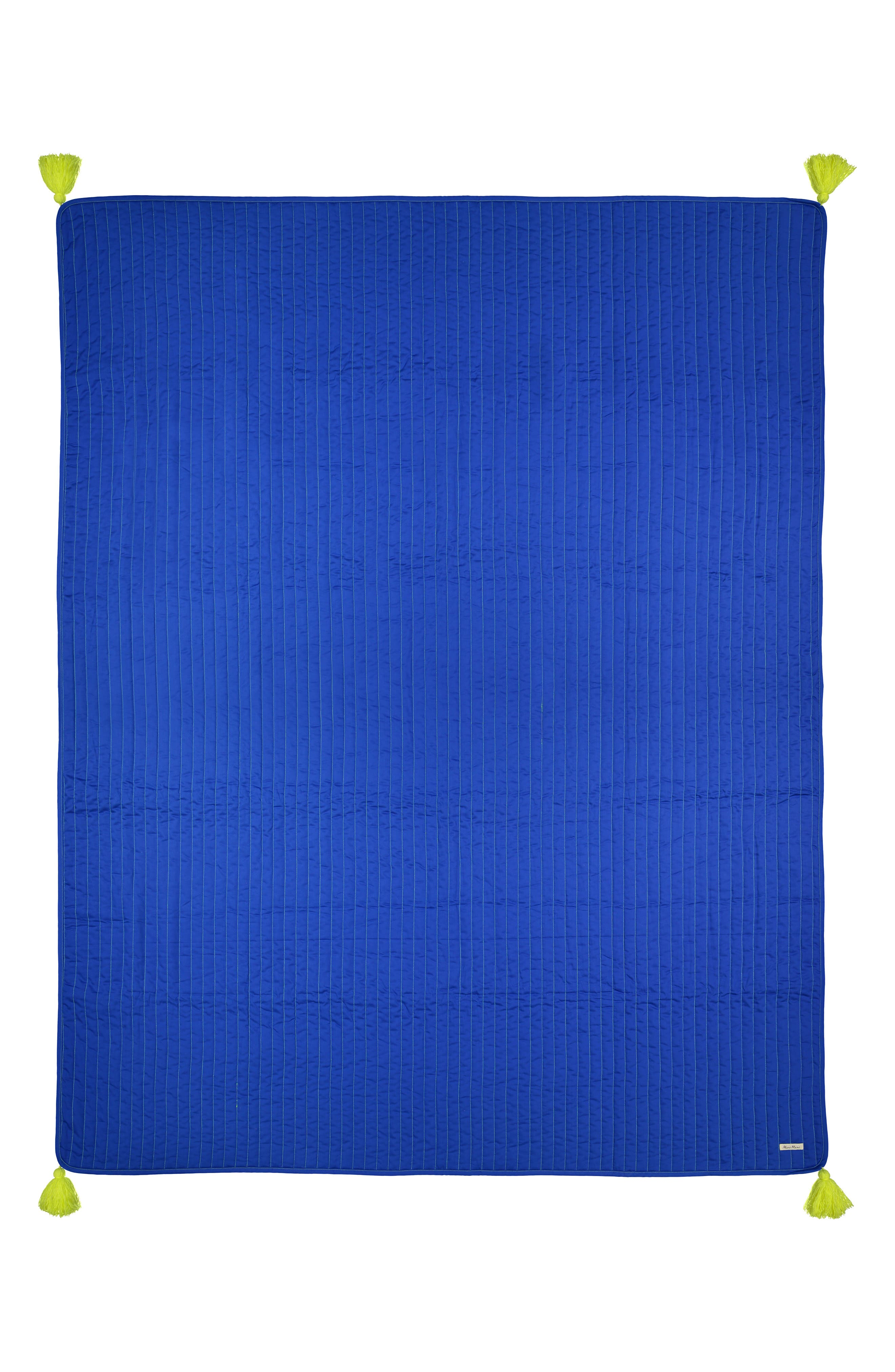 Organic Cotton Quilted Blanket,                         Main,                         color, BLUE
