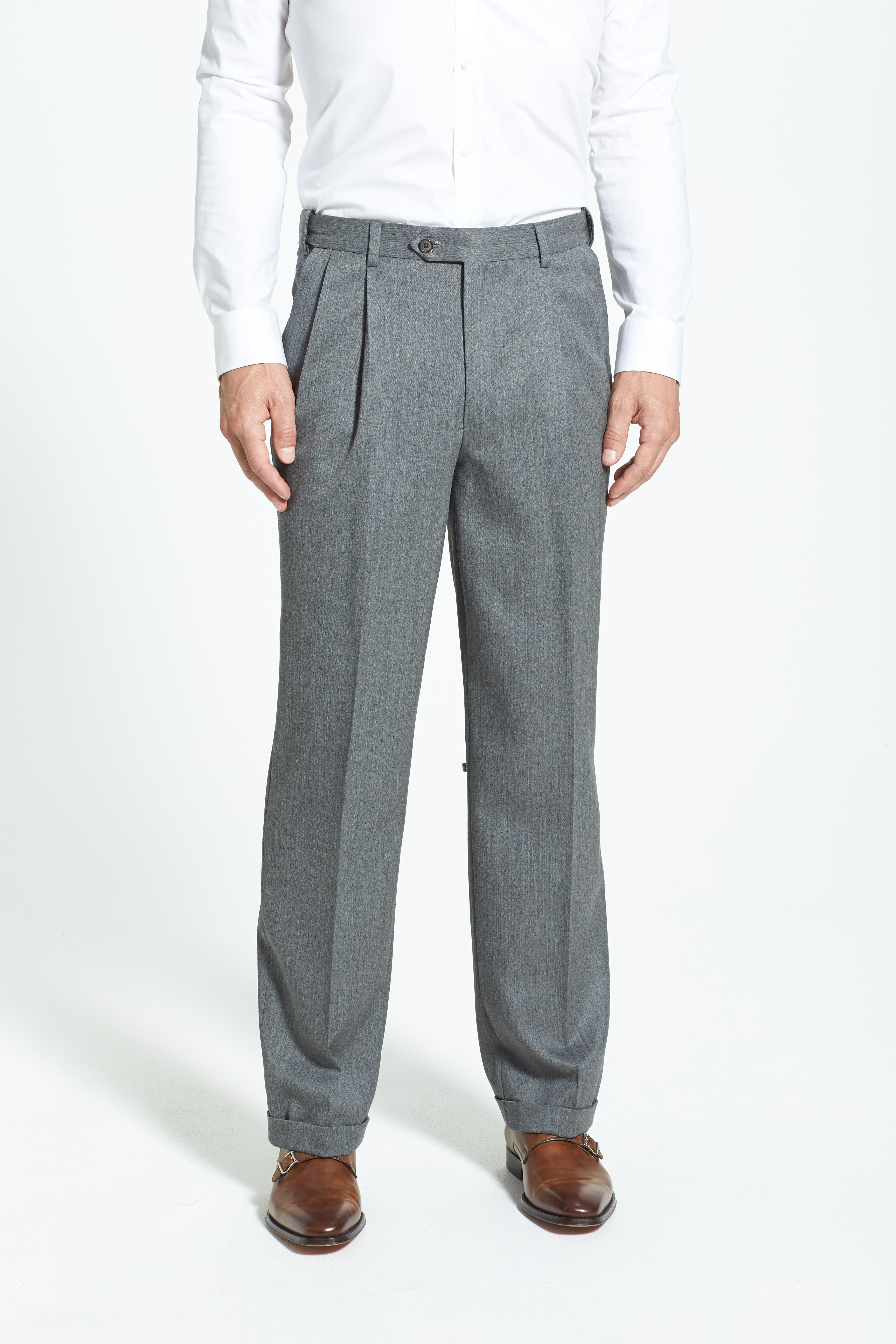 Self Sizer Waist Pleated Wool Gabardine Trousers,                             Alternate thumbnail 3, color,                             MEDIUM GREY
