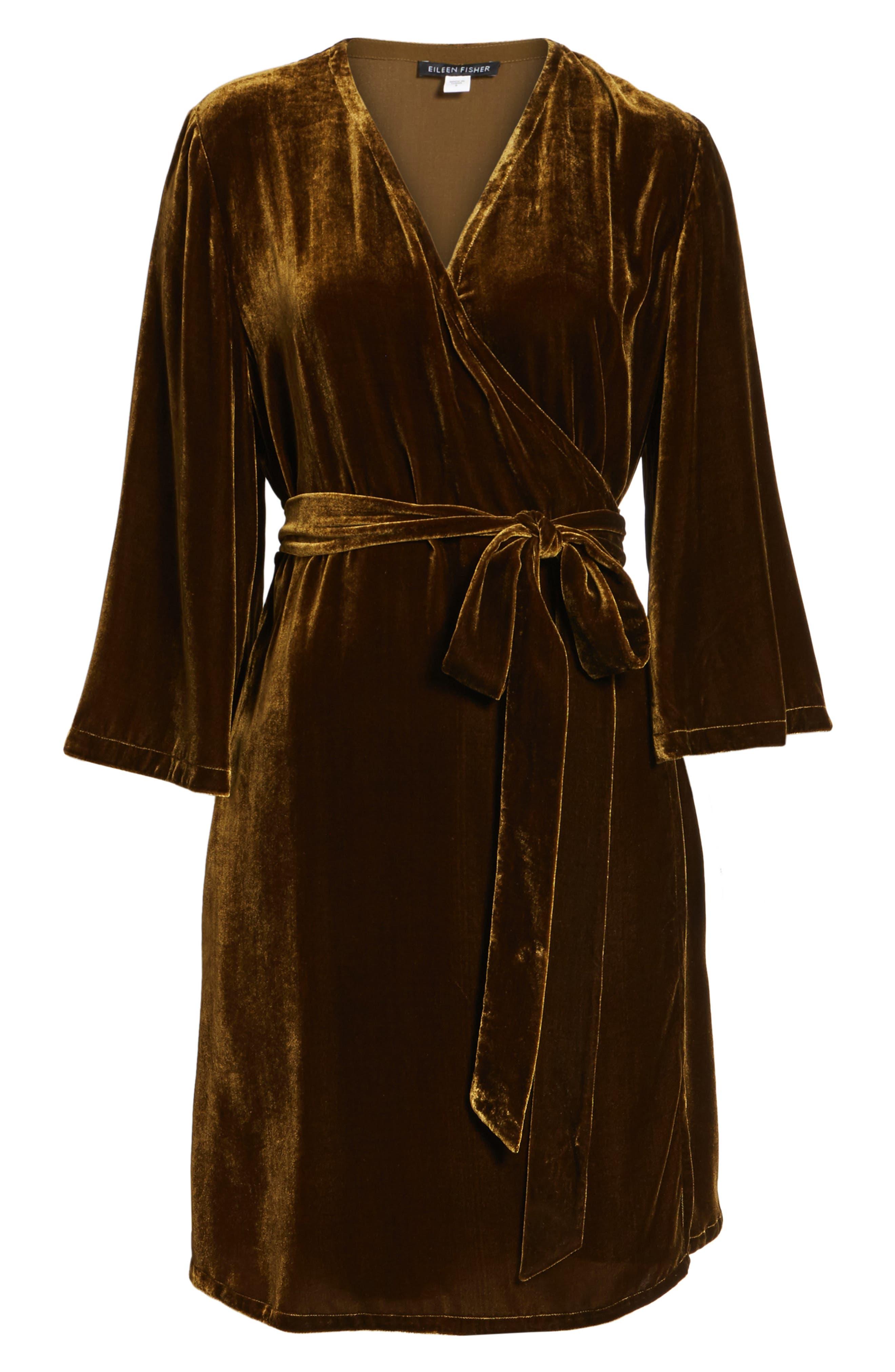 Velvet Wrap Dress,                             Alternate thumbnail 17, color,