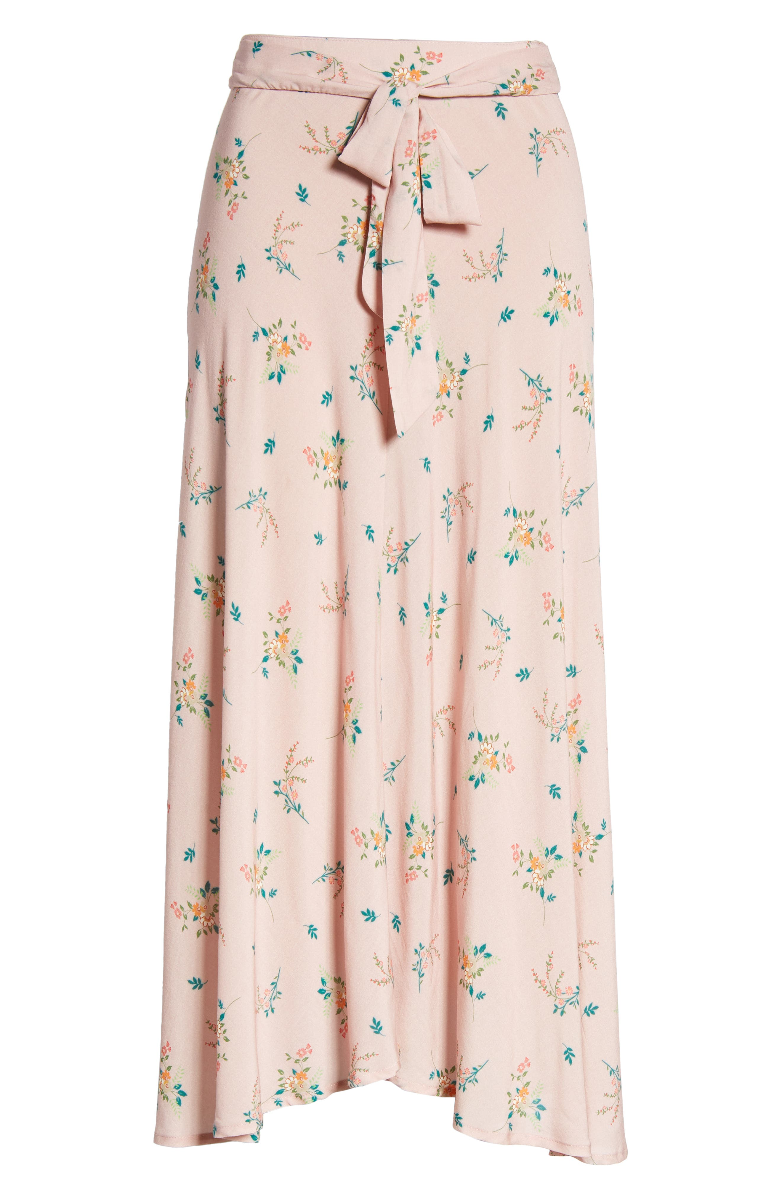 Floral Print Midi Skirt,                             Alternate thumbnail 6, color,                             657