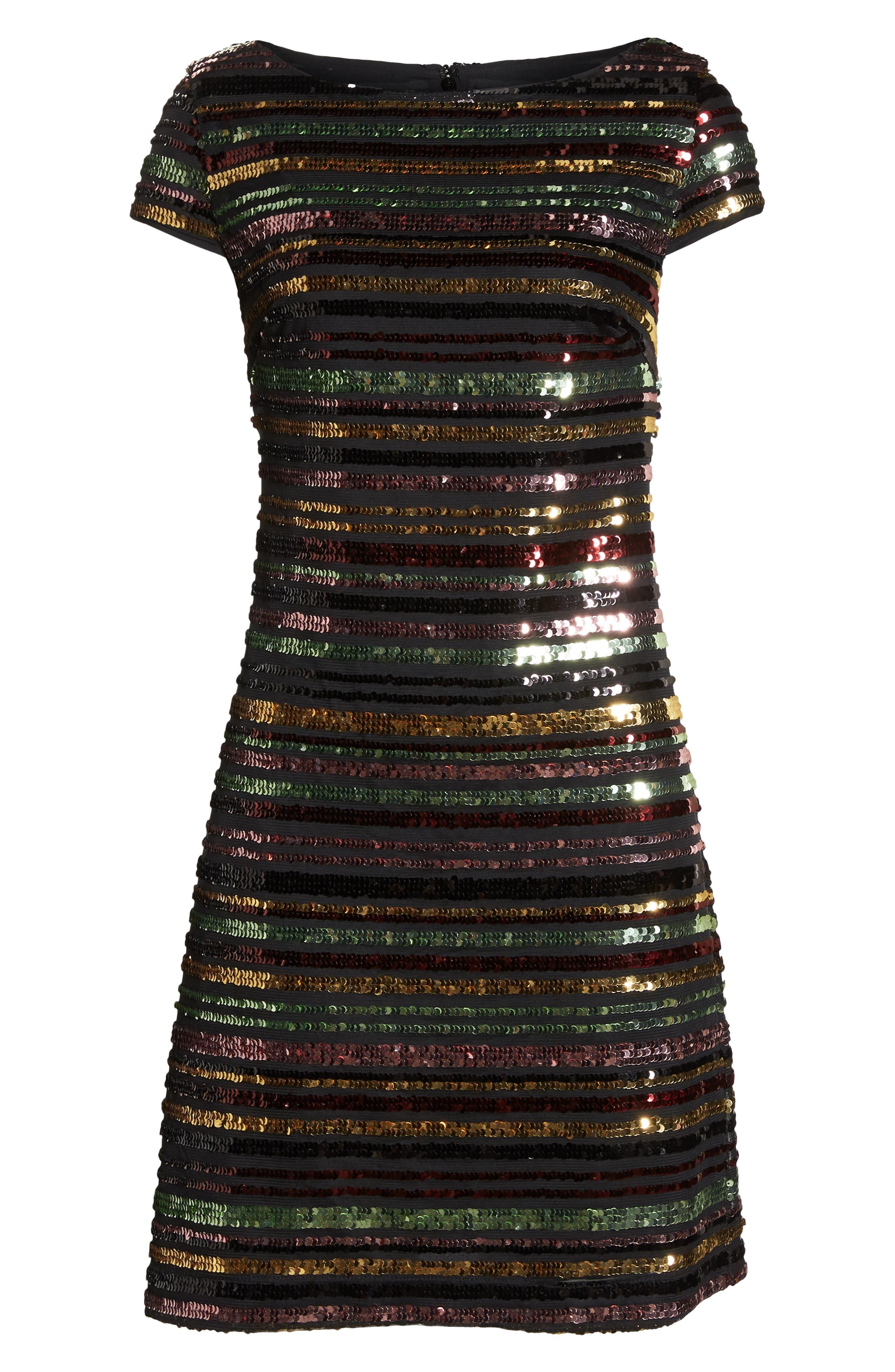 Sequin Stripe Dress,                             Alternate thumbnail 7, color,                             SEQUIN PRINT
