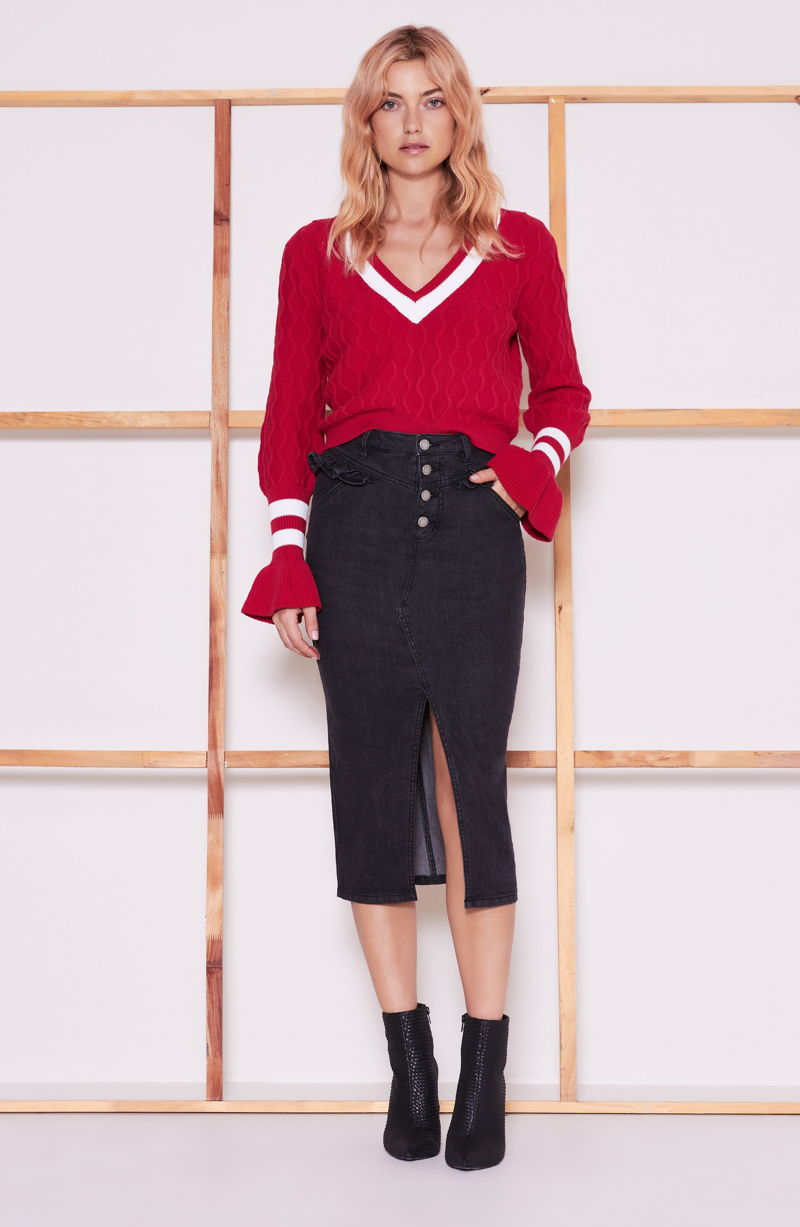 Graduate Bell Sleeve Sweater,                             Alternate thumbnail 7, color,                             BERRY/ WHITE