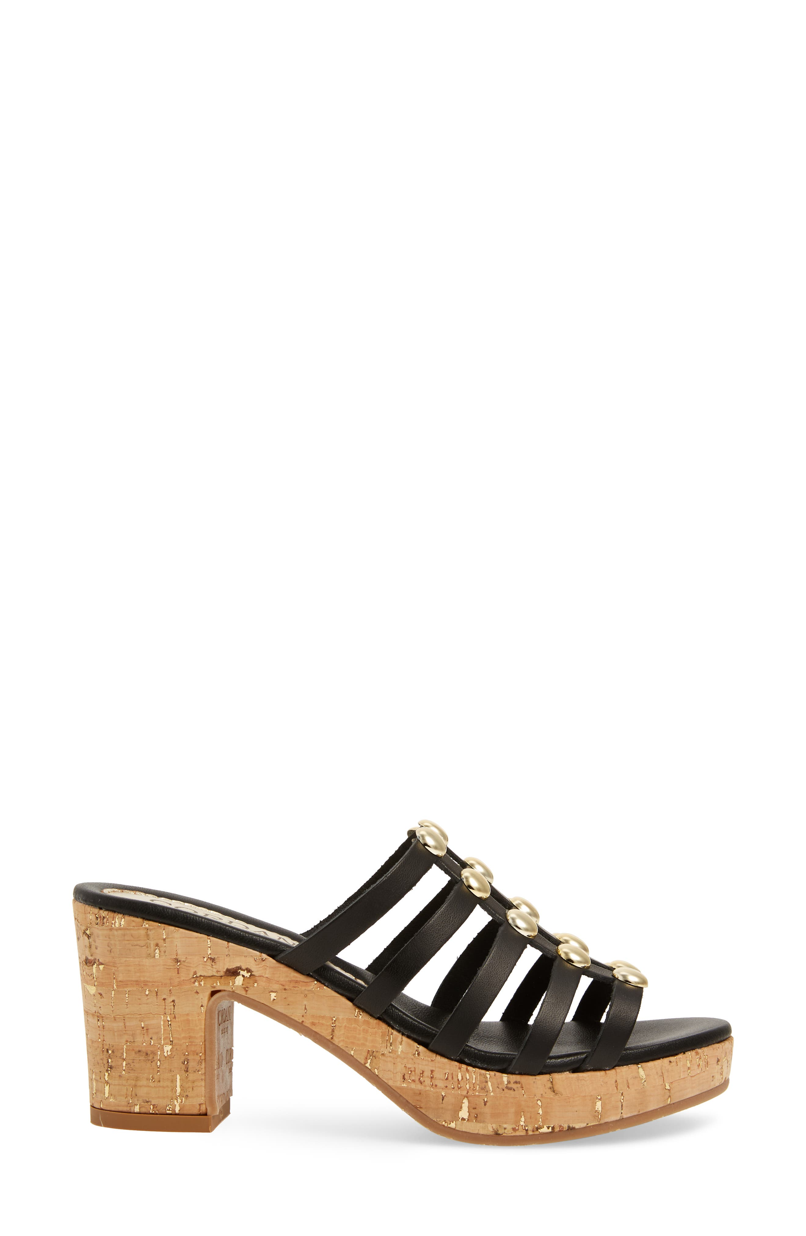 Keane Studded Slide Sandal,                             Alternate thumbnail 3, color,                             BLACK LEATHER