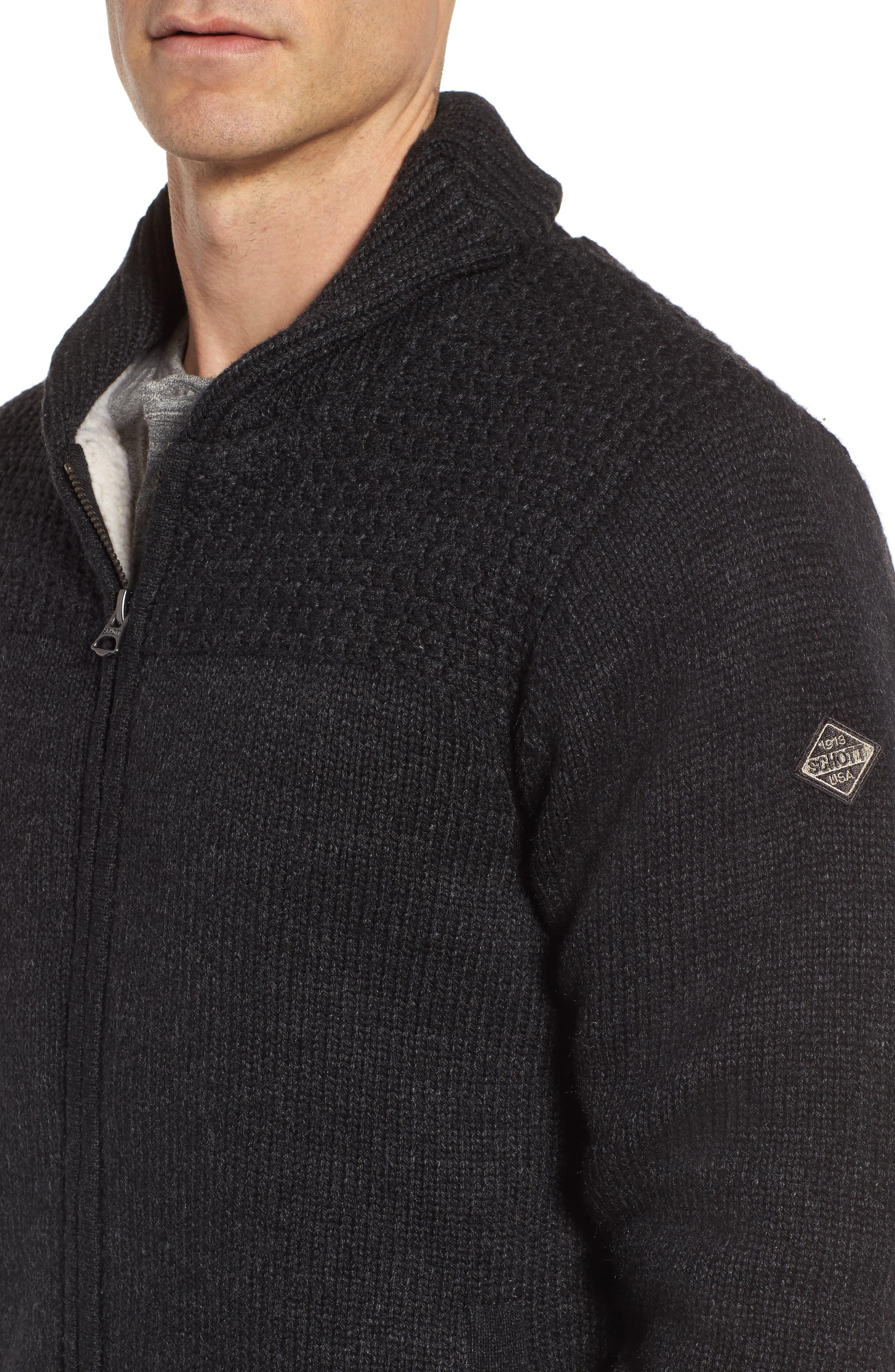 SCHOTT NYC,                             Lined Wool Zip Sweater,                             Alternate thumbnail 4, color,                             BLACK