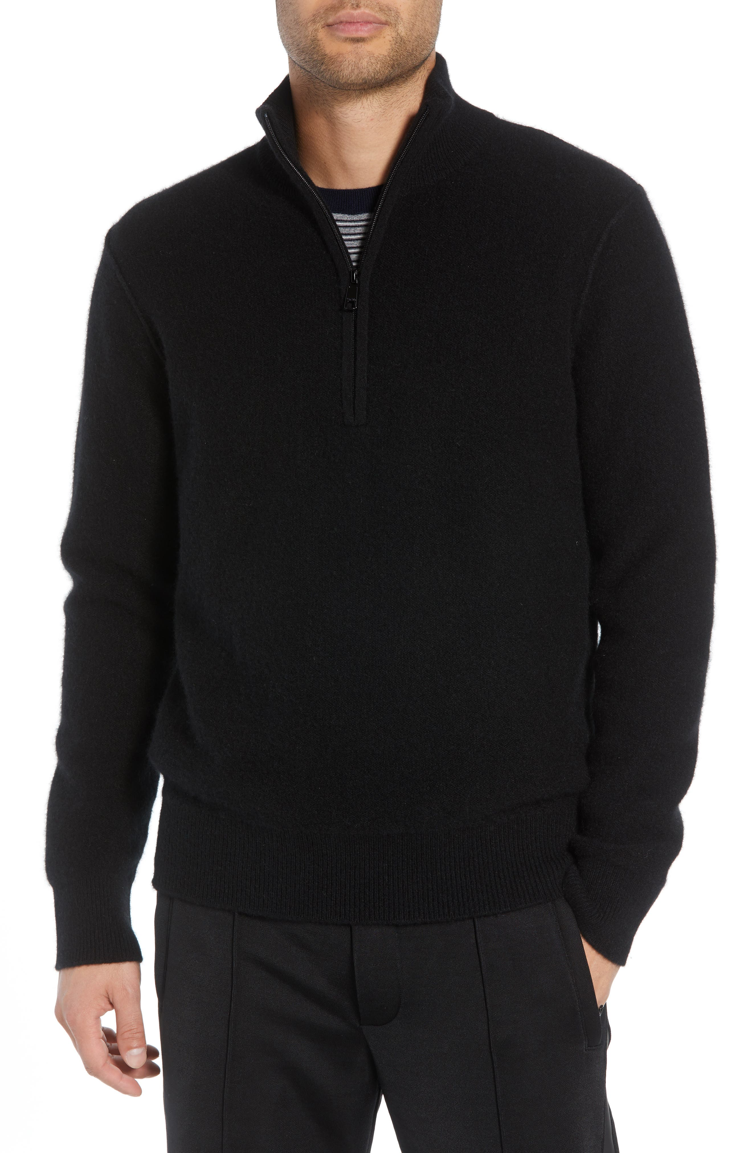 Regular Fit Half Zip Cashmere Sweater,                             Main thumbnail 1, color,                             001