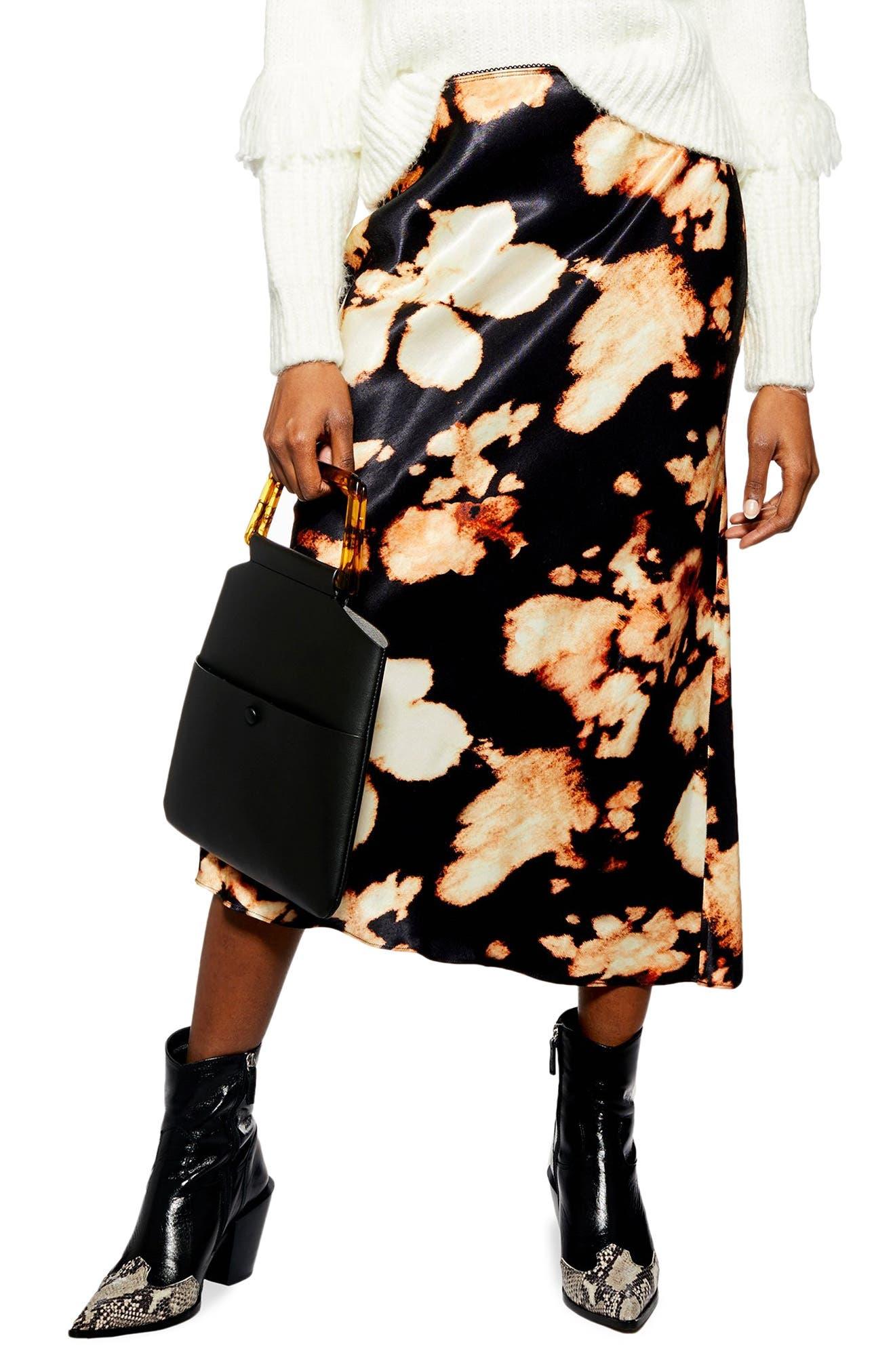 TOPSHOP,                             Tie Dye Bias Midi Skirt,                             Main thumbnail 1, color,                             BLACK MULTI