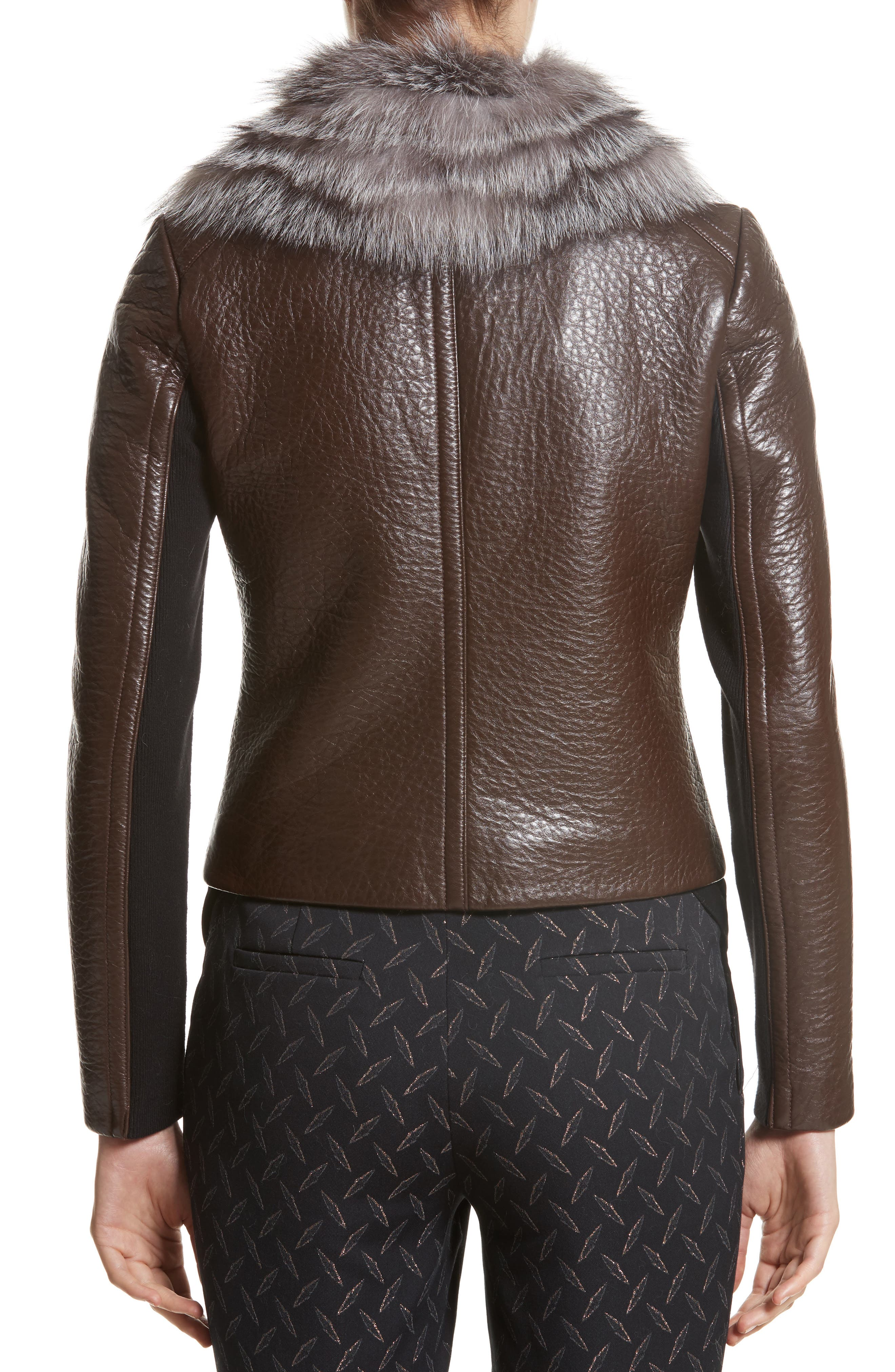 Bonded Moto Leather Jacket with Removable Genuine Fox Fur Collar,                             Alternate thumbnail 2, color,                             219