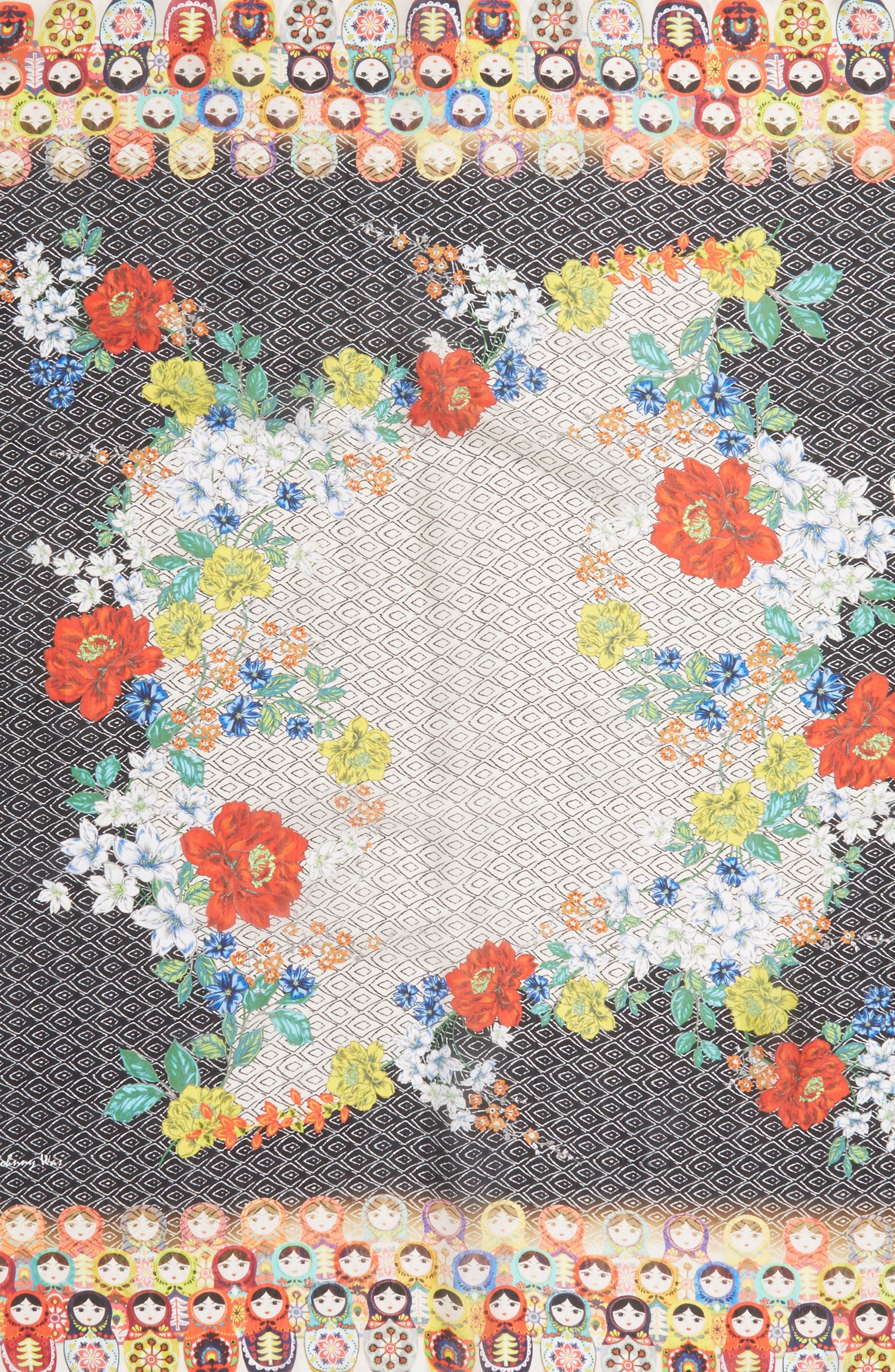 Babushka Silk Scarf,                             Alternate thumbnail 4, color,                             030