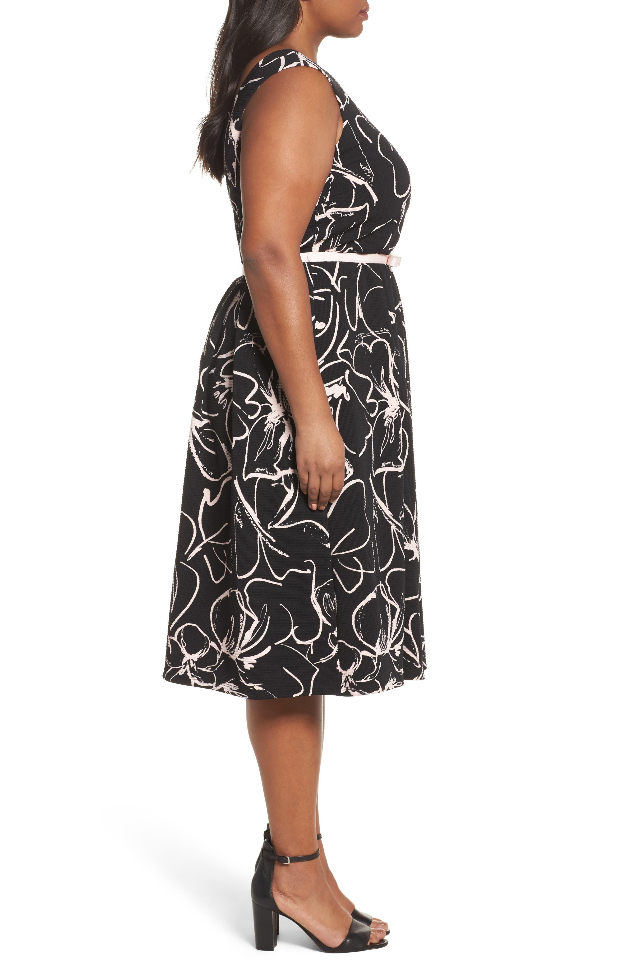 Print Fit & Flare Dress,                             Alternate thumbnail 5, color,