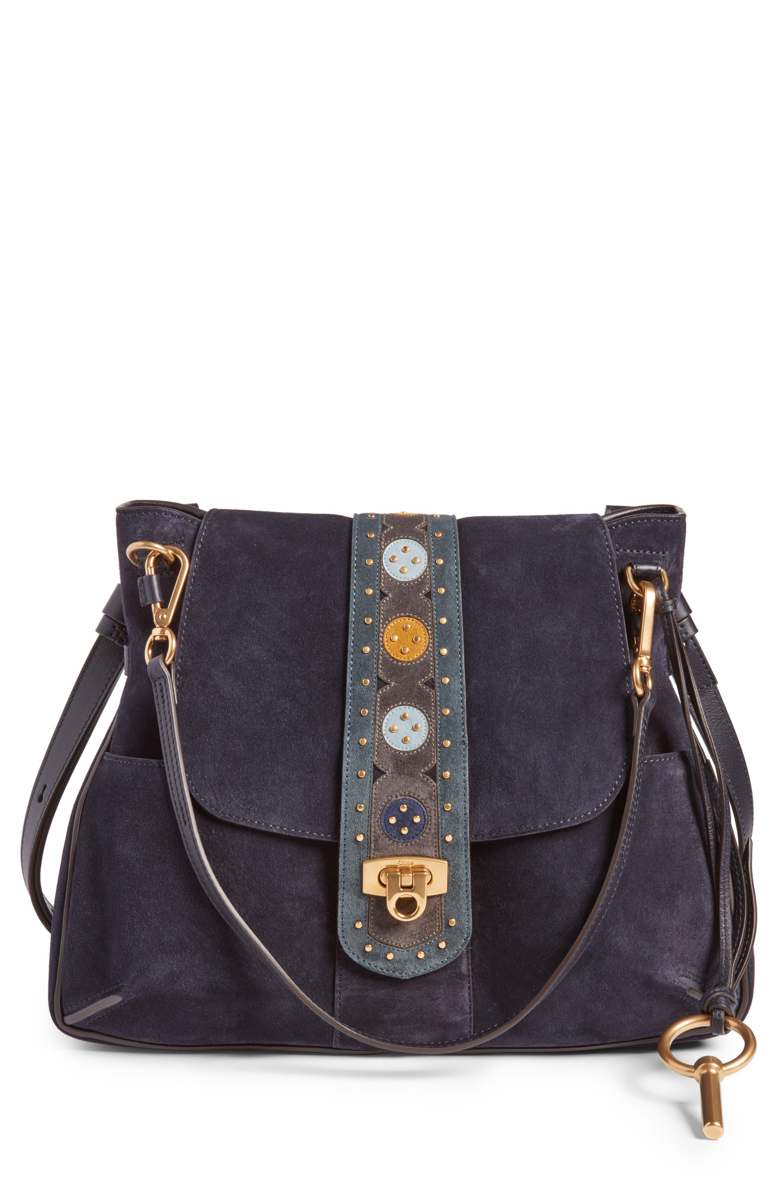Medium Lexa Suede Shoulder Bag,                             Main thumbnail 1, color,                             412