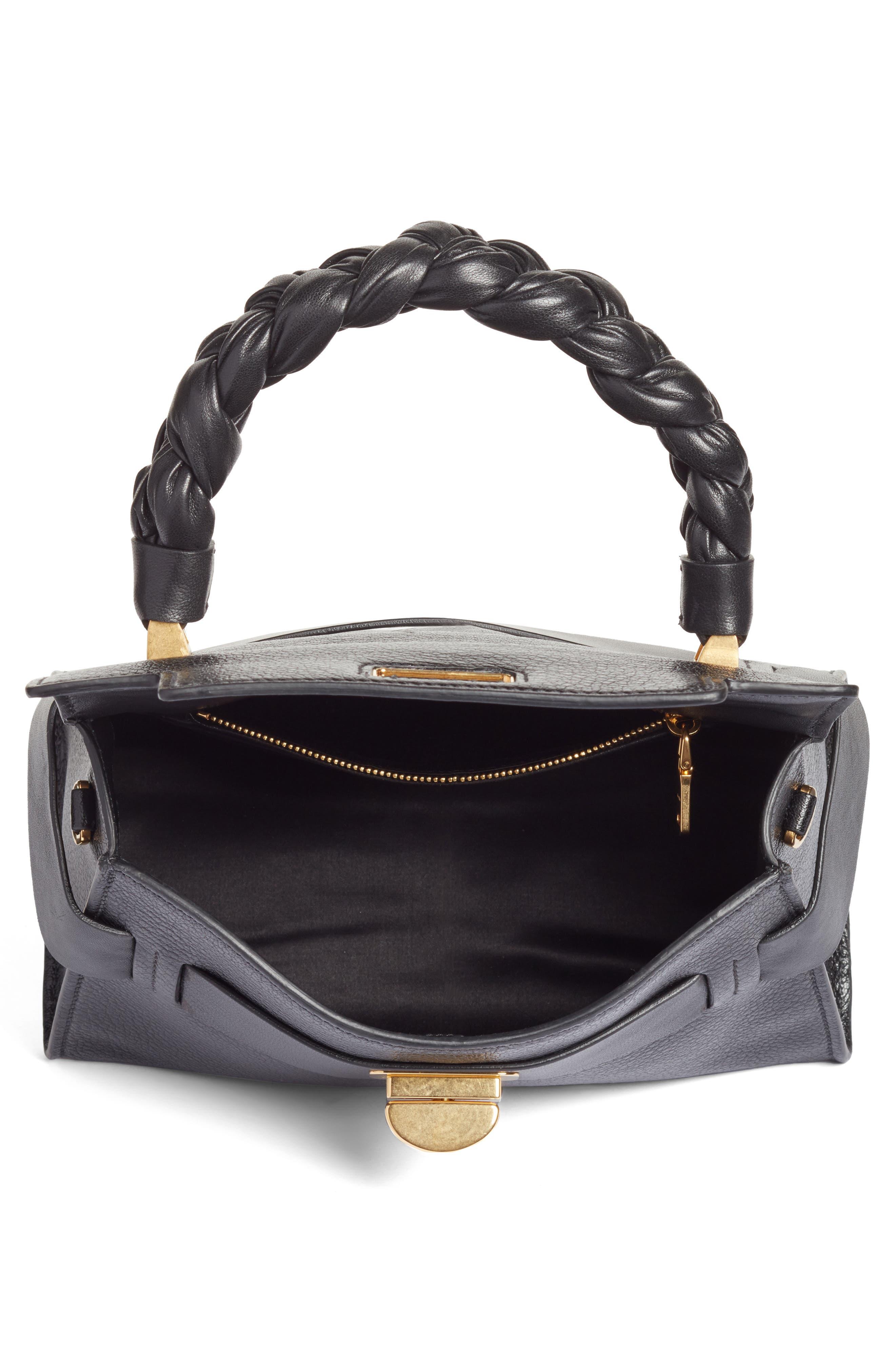 Madras Leather Top Handle Satchel,                             Alternate thumbnail 4, color,                             001