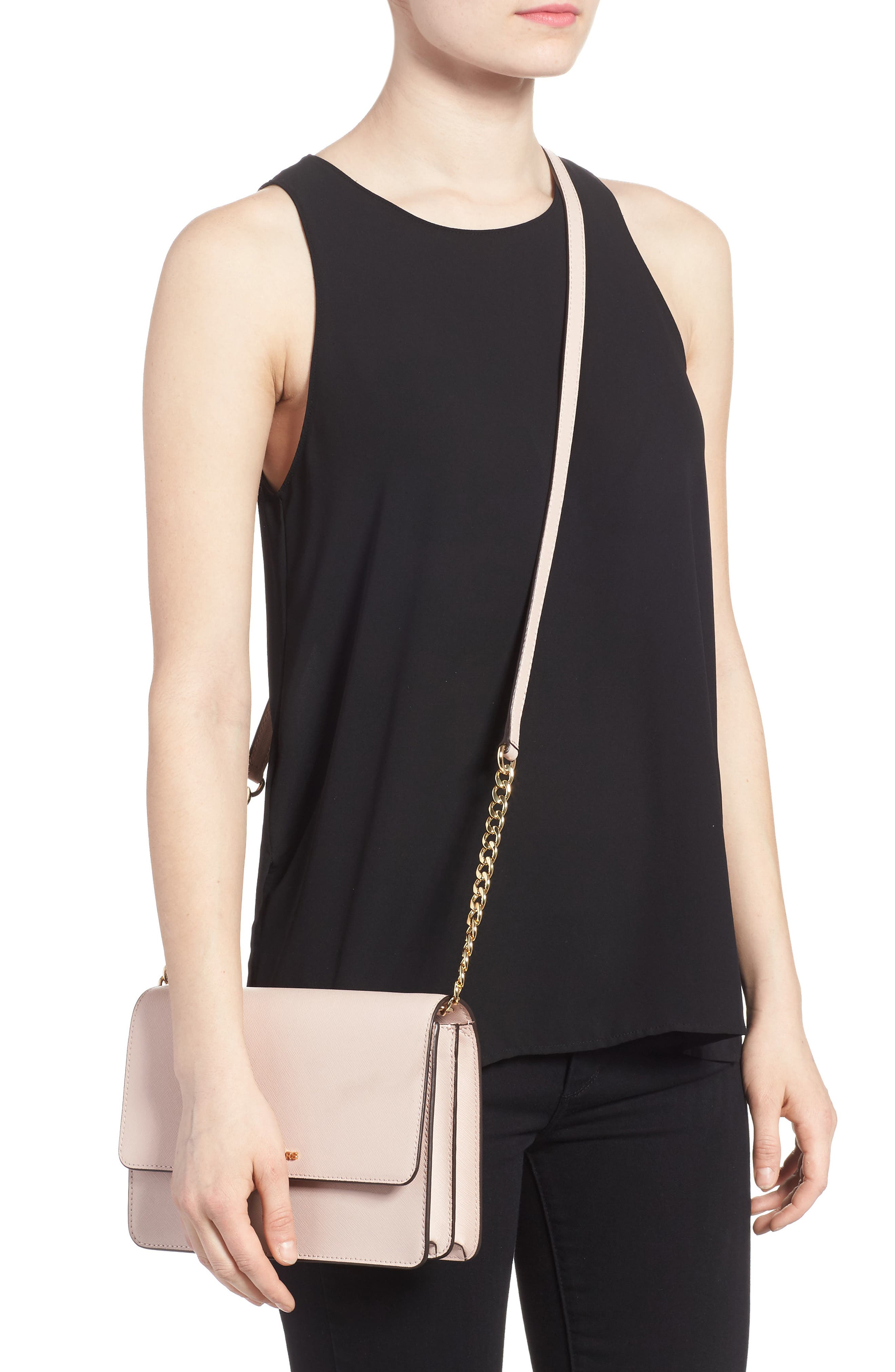 Large Daniela Leather Crossbody Bag,                             Alternate thumbnail 2, color,                             SOFT PINK