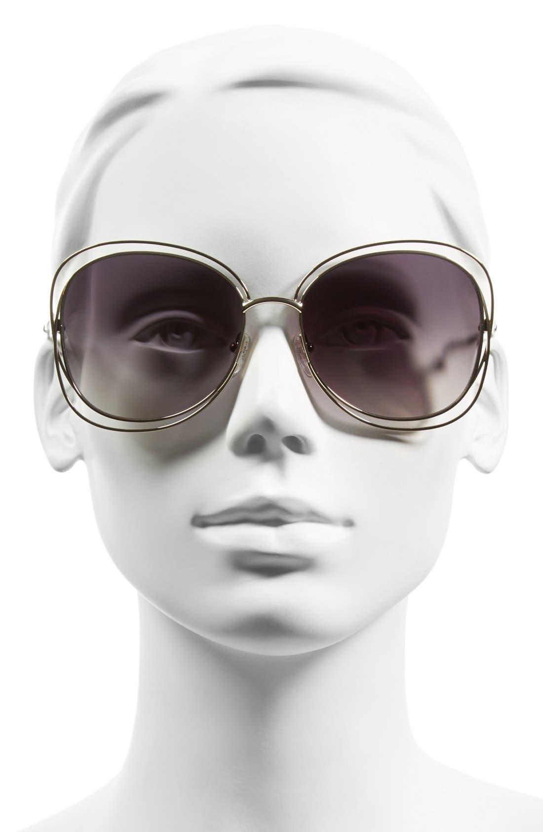 Carlina 60mm Gradient Les Sunglasses,                             Alternate thumbnail 2, color,                             GOLD/ LIGHT GREY