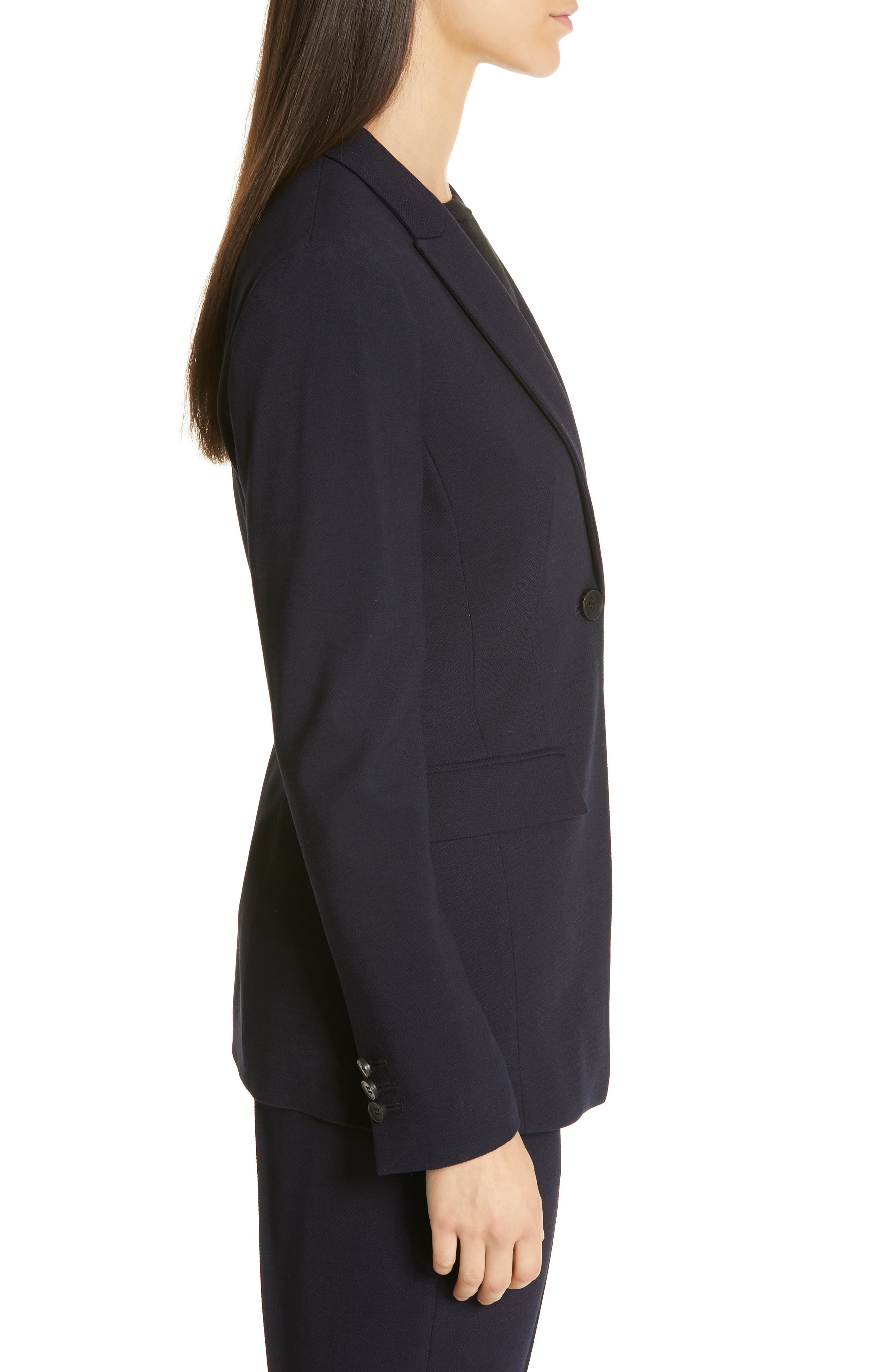 Jusanna Stretch Wool Suit Jacket,                             Alternate thumbnail 3, color,                             NAVY