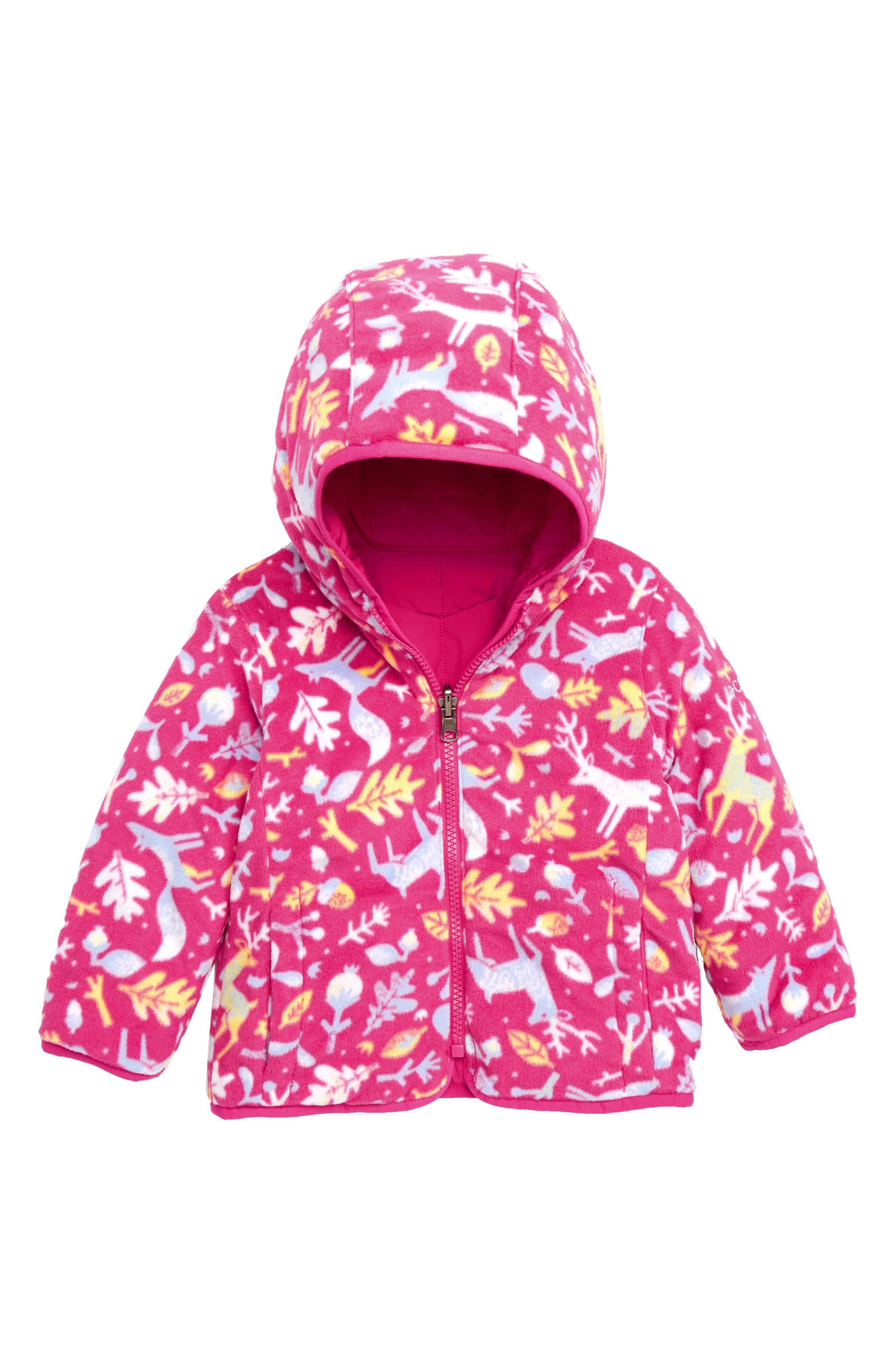 Double Trouble Reversible Water-Resistant Hooded Jacket,                             Alternate thumbnail 2, color,                             CACTUS PINK