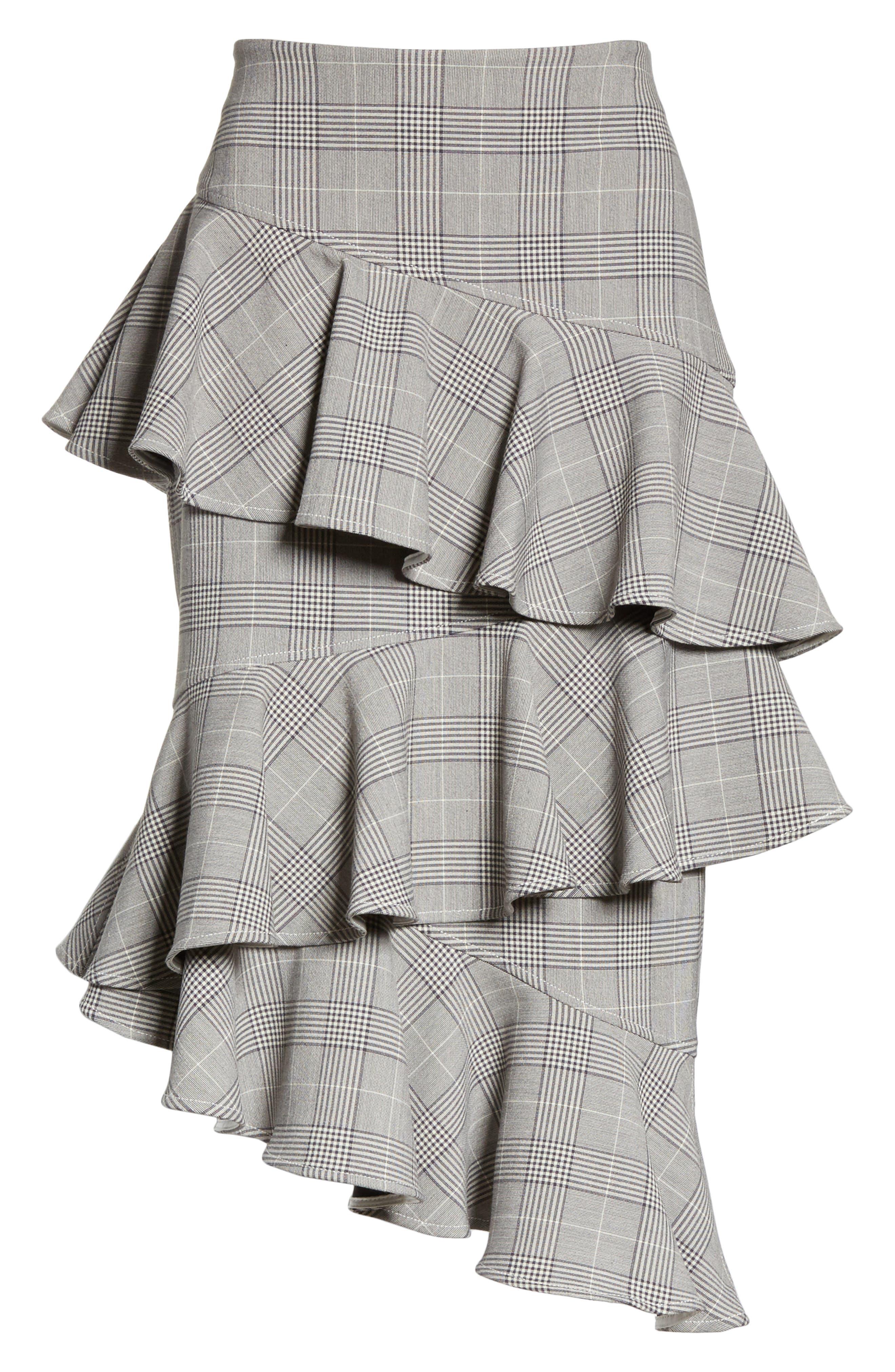 Garvey Plaid Ruffle Tier Skirt,                             Alternate thumbnail 6, color,                             020