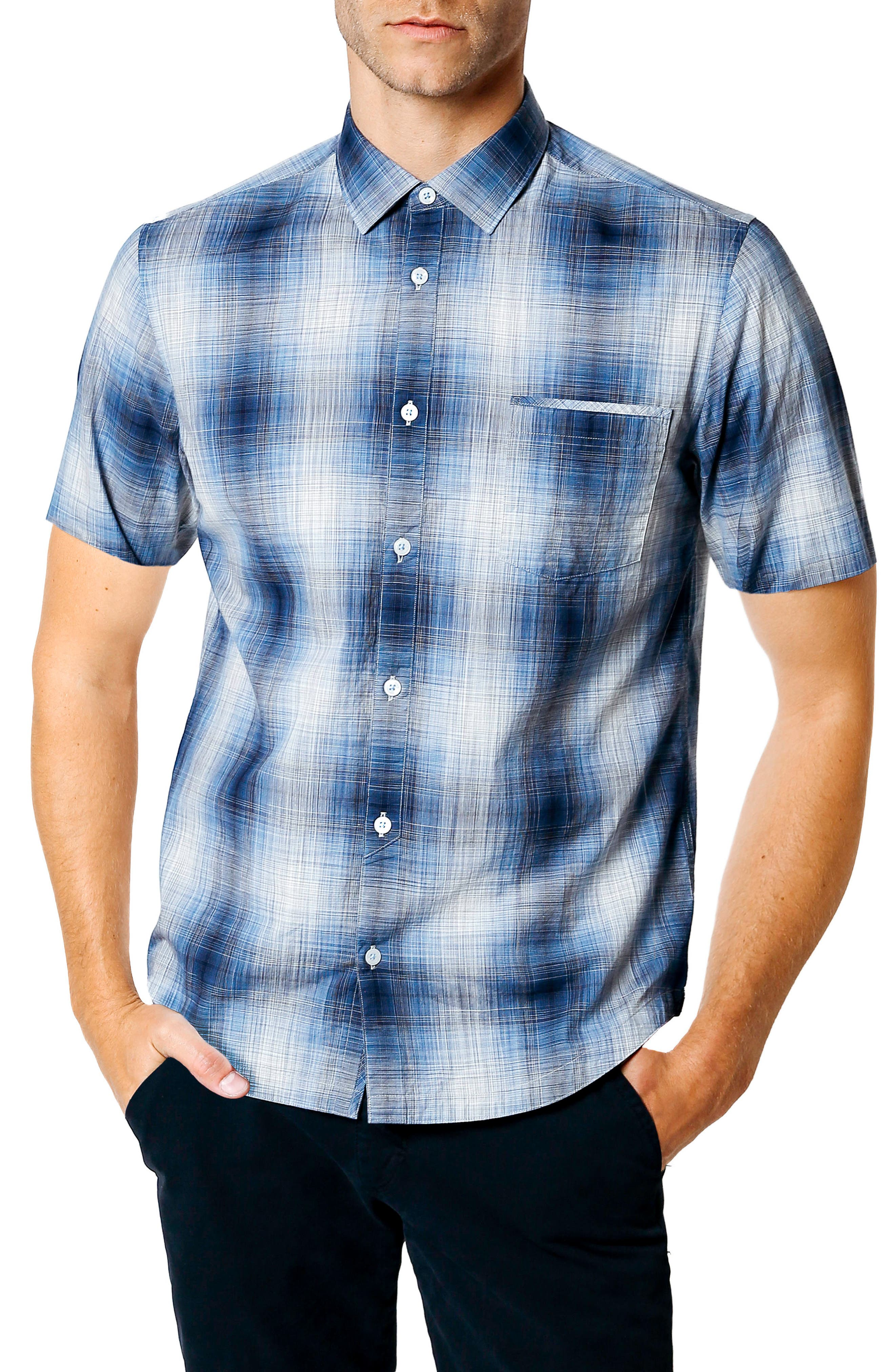 Space Plaid Trim Fit Sport Shirt,                         Main,                         color, NAVY