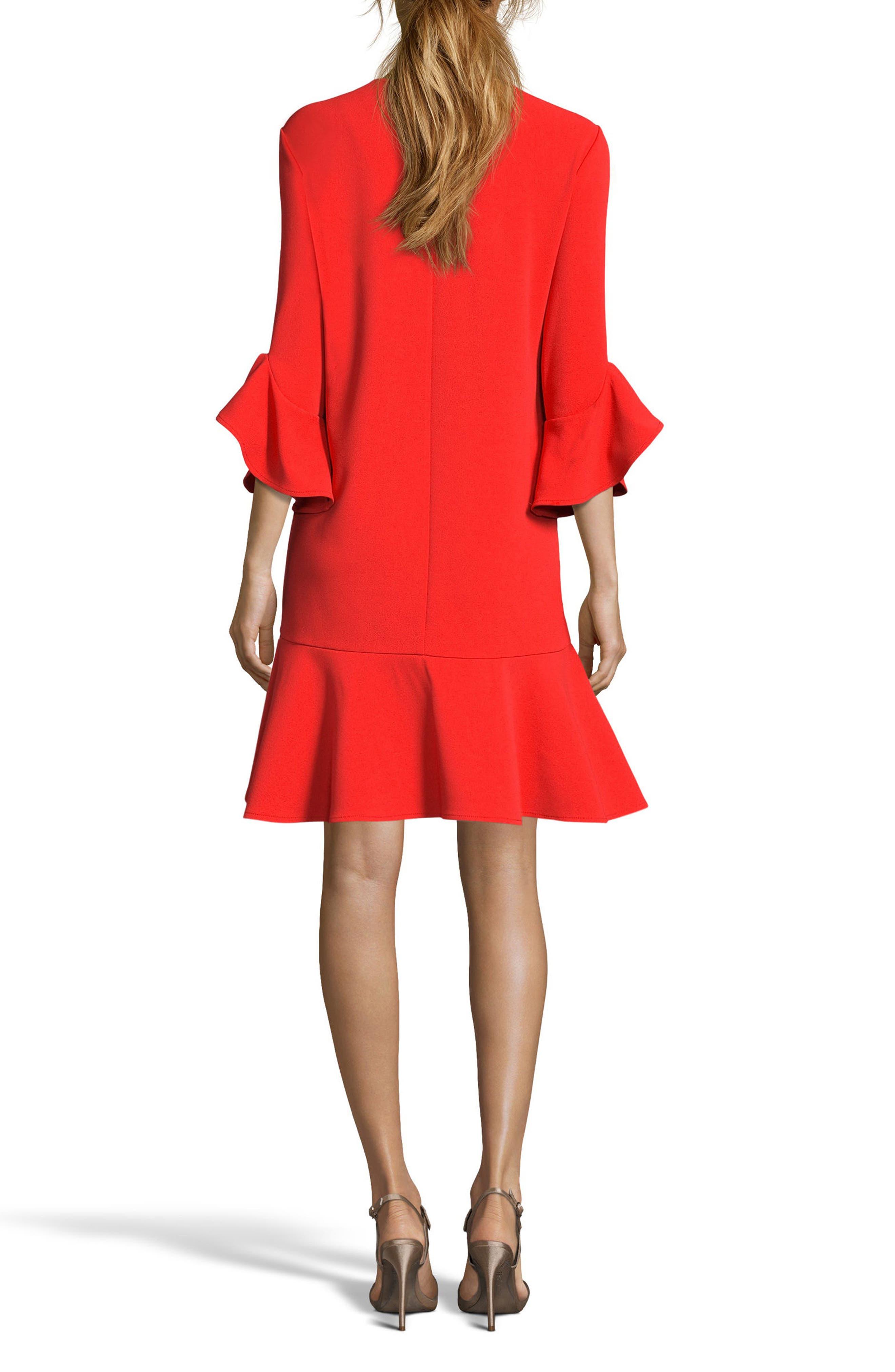 Ruffle Bell Sleeve Shift Dress,                             Alternate thumbnail 7, color,
