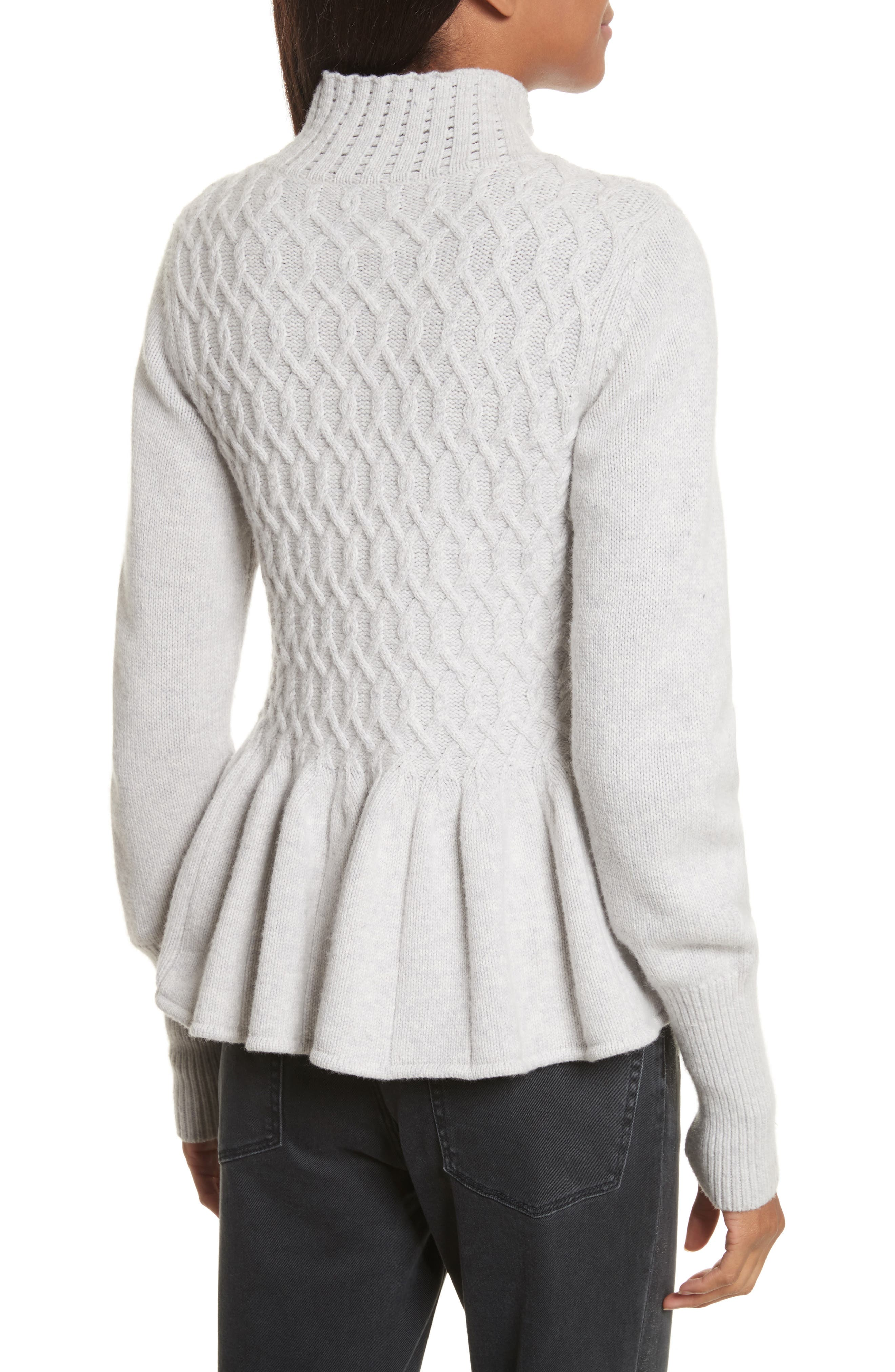Cable Knit Front Zip Cardigan,                             Alternate thumbnail 2, color,                             058