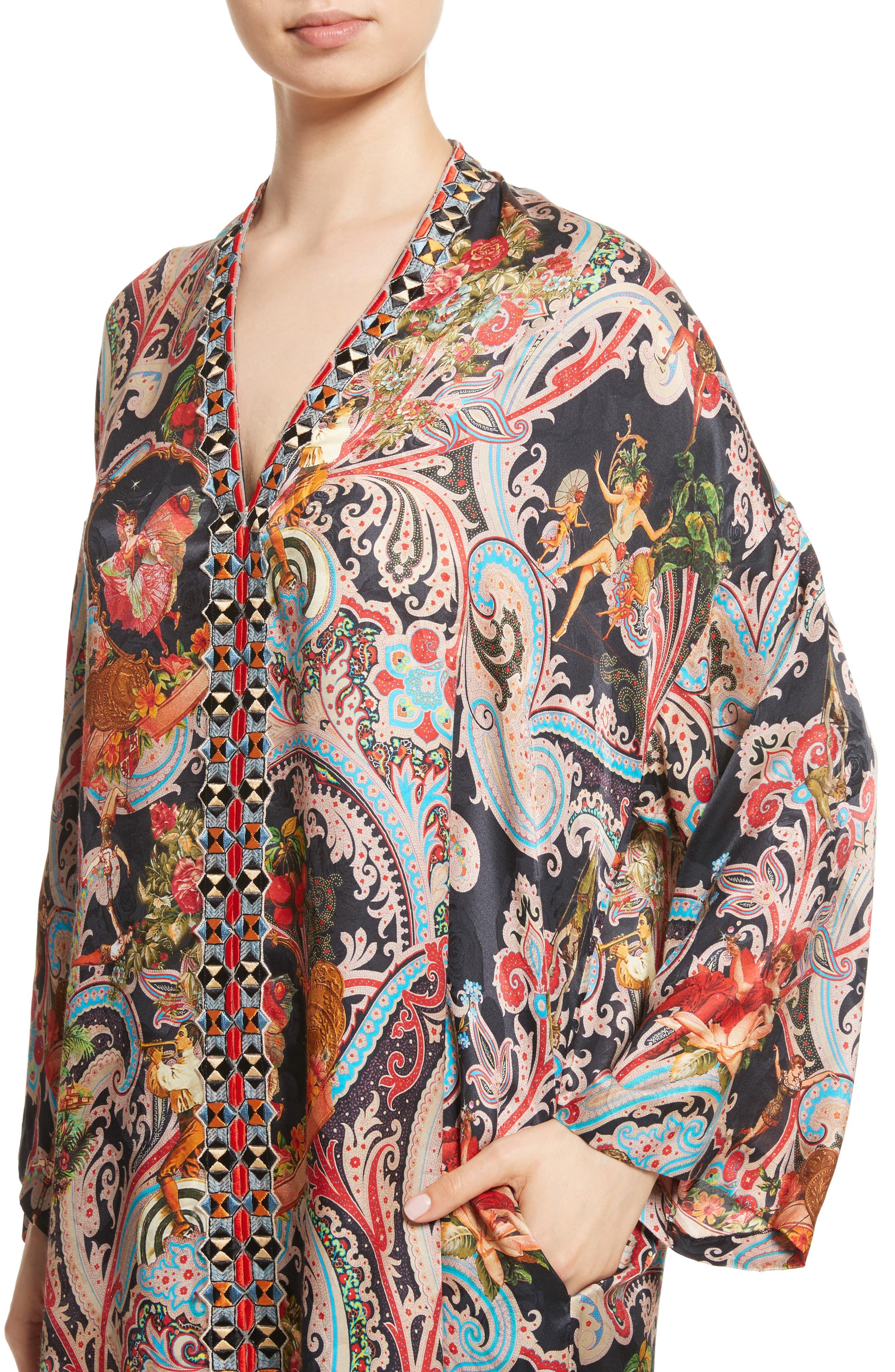 Print Caftan Dress,                             Alternate thumbnail 4, color,                             001