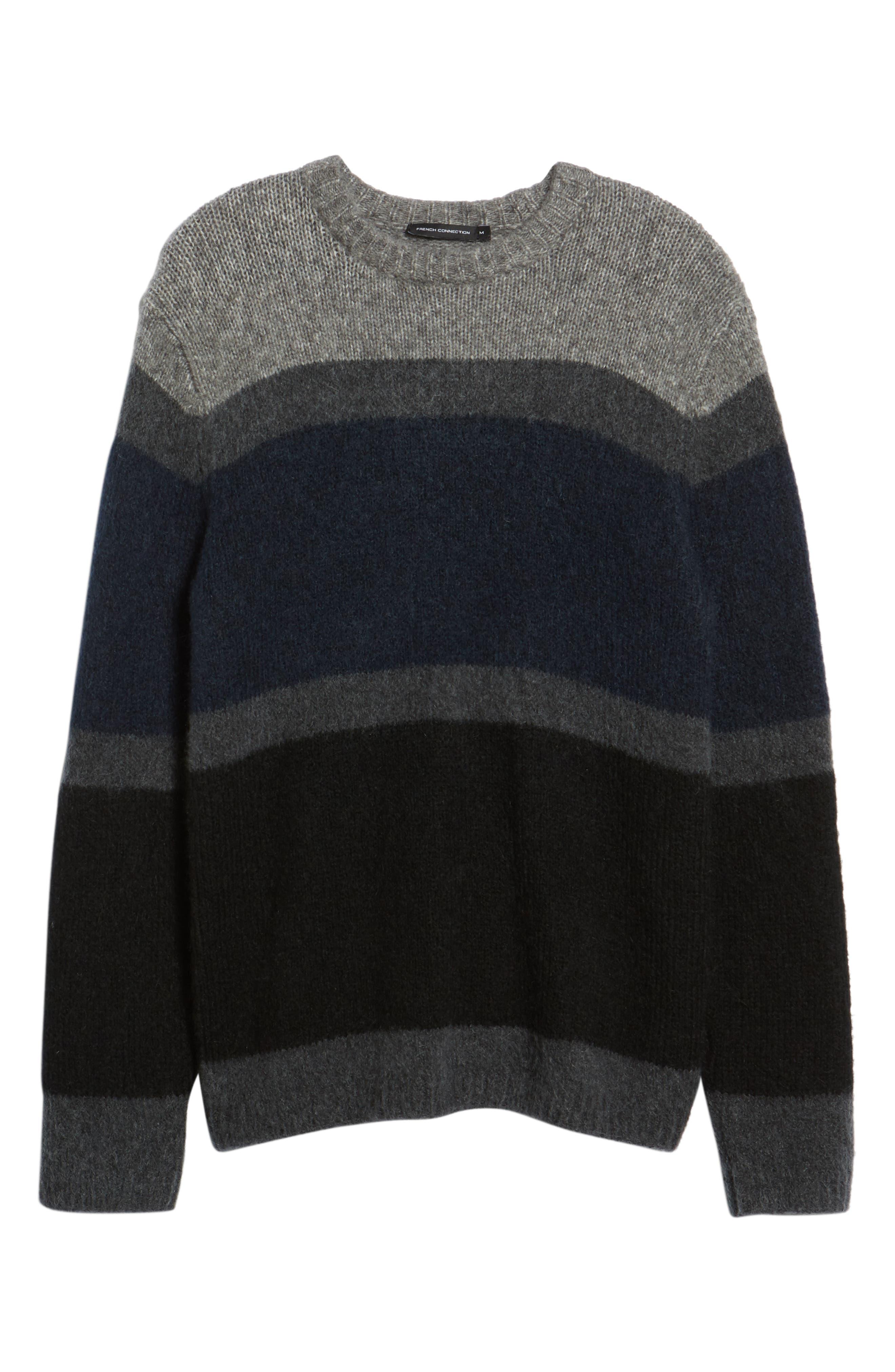 Stripe Sweater,                             Alternate thumbnail 6, color,                             UTILITY BLUE CHARCOAL MELANGE