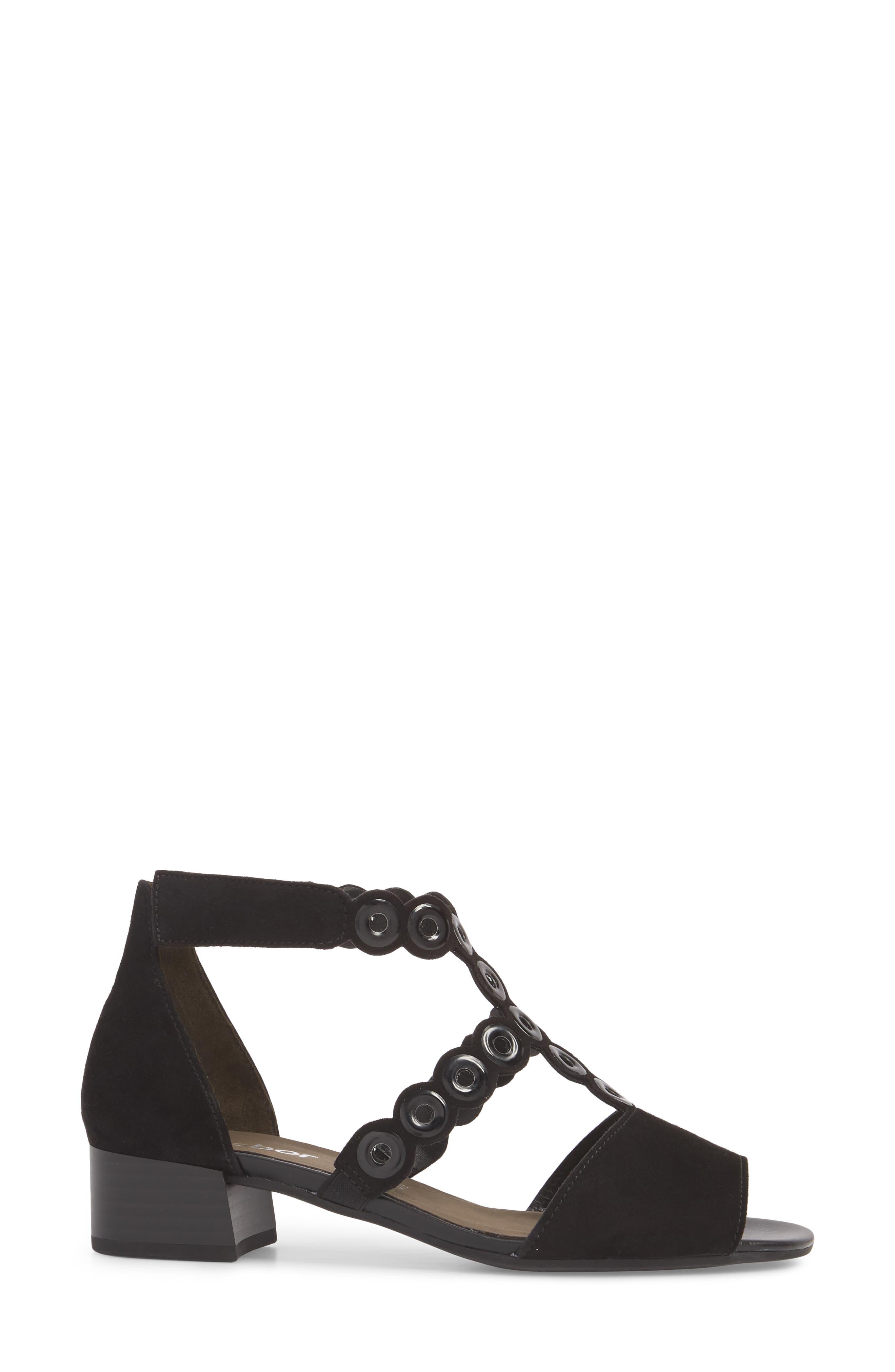 T-Strap Sandal,                             Alternate thumbnail 3, color,                             BLACK SUEDE