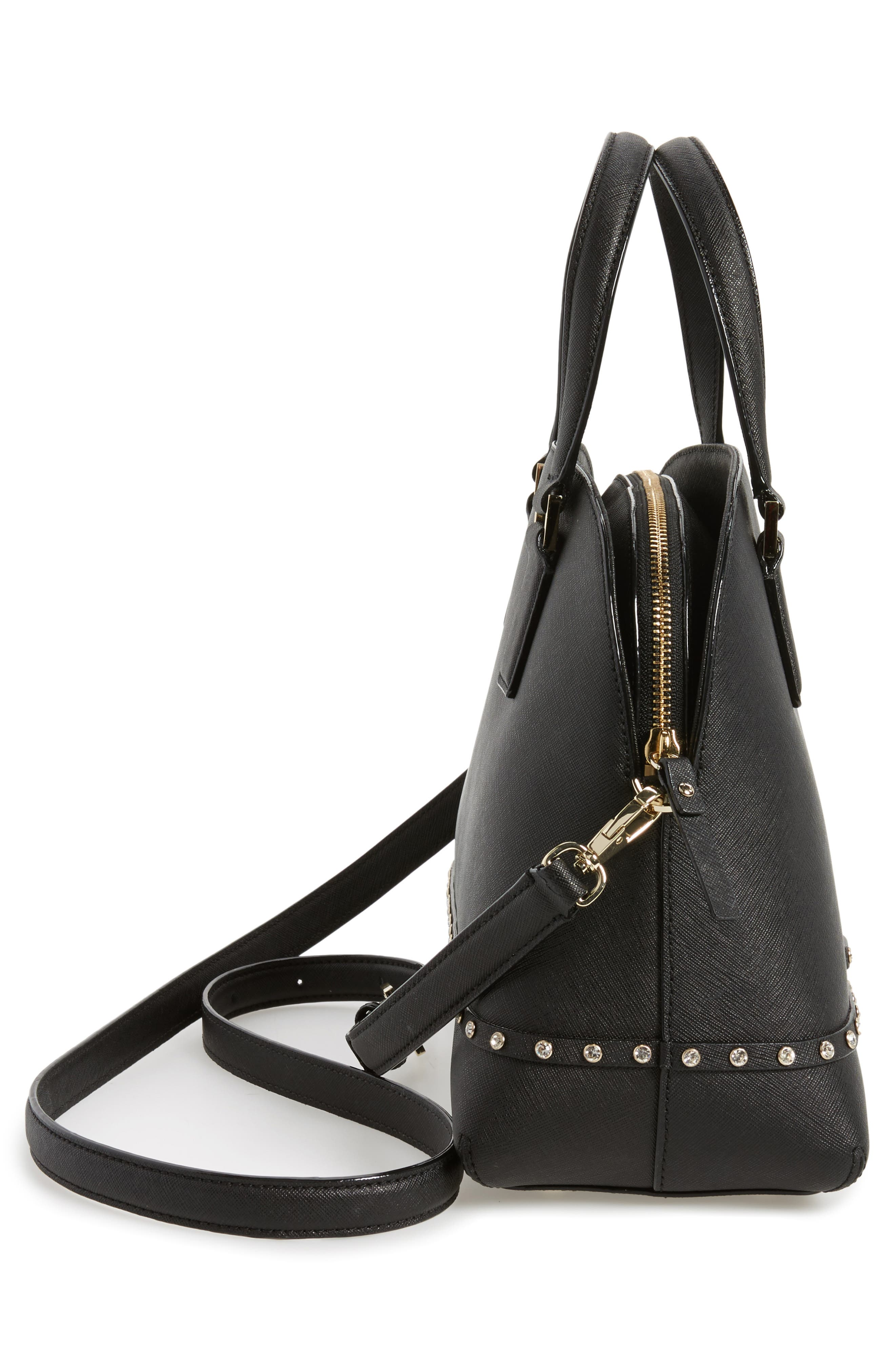 cameron street - jeweled lottie leather satchel,                             Alternate thumbnail 5, color,                             001