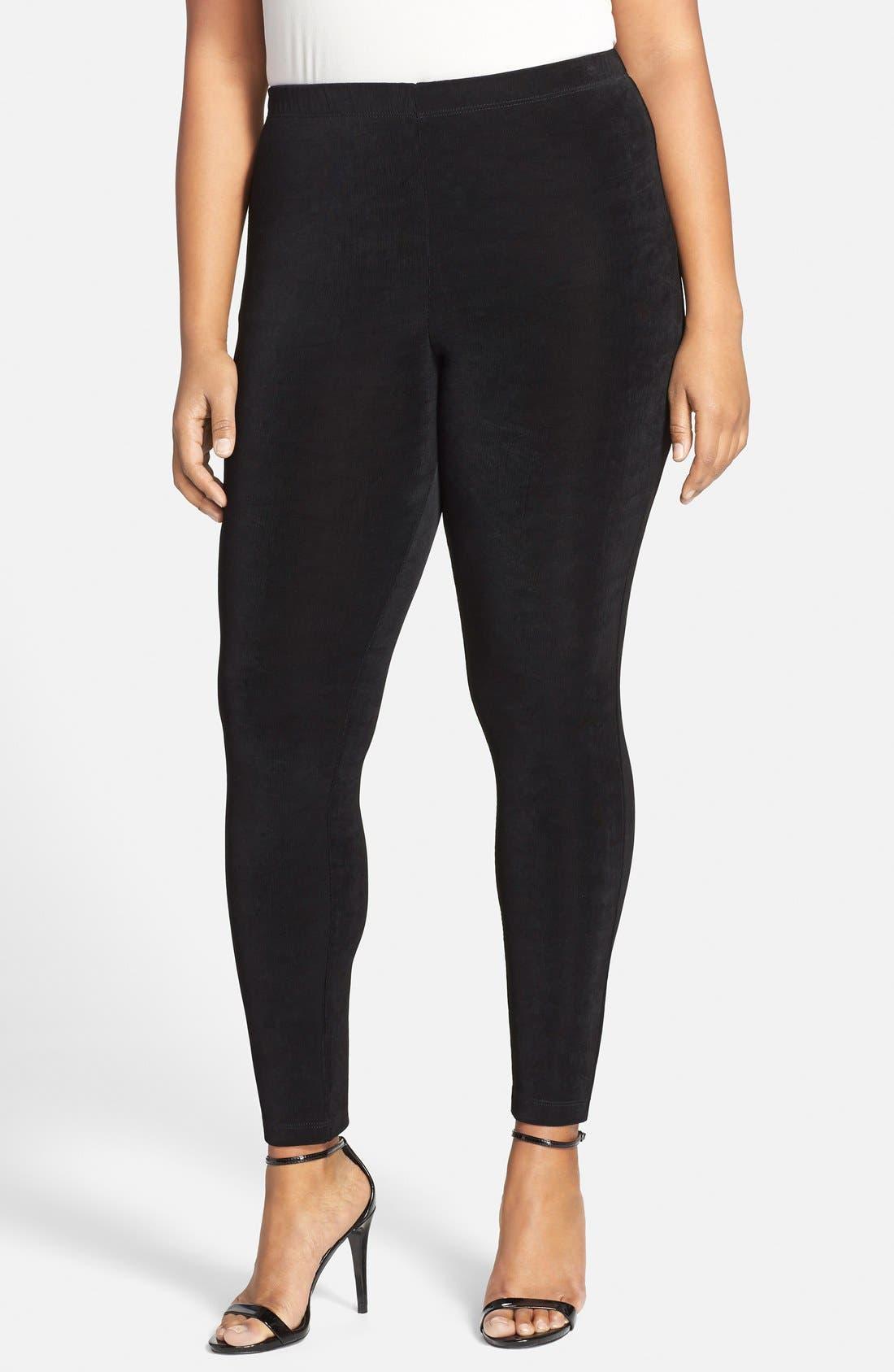High Rise Stretch Knit Slim Pants,                             Main thumbnail 1, color,                             BLACK