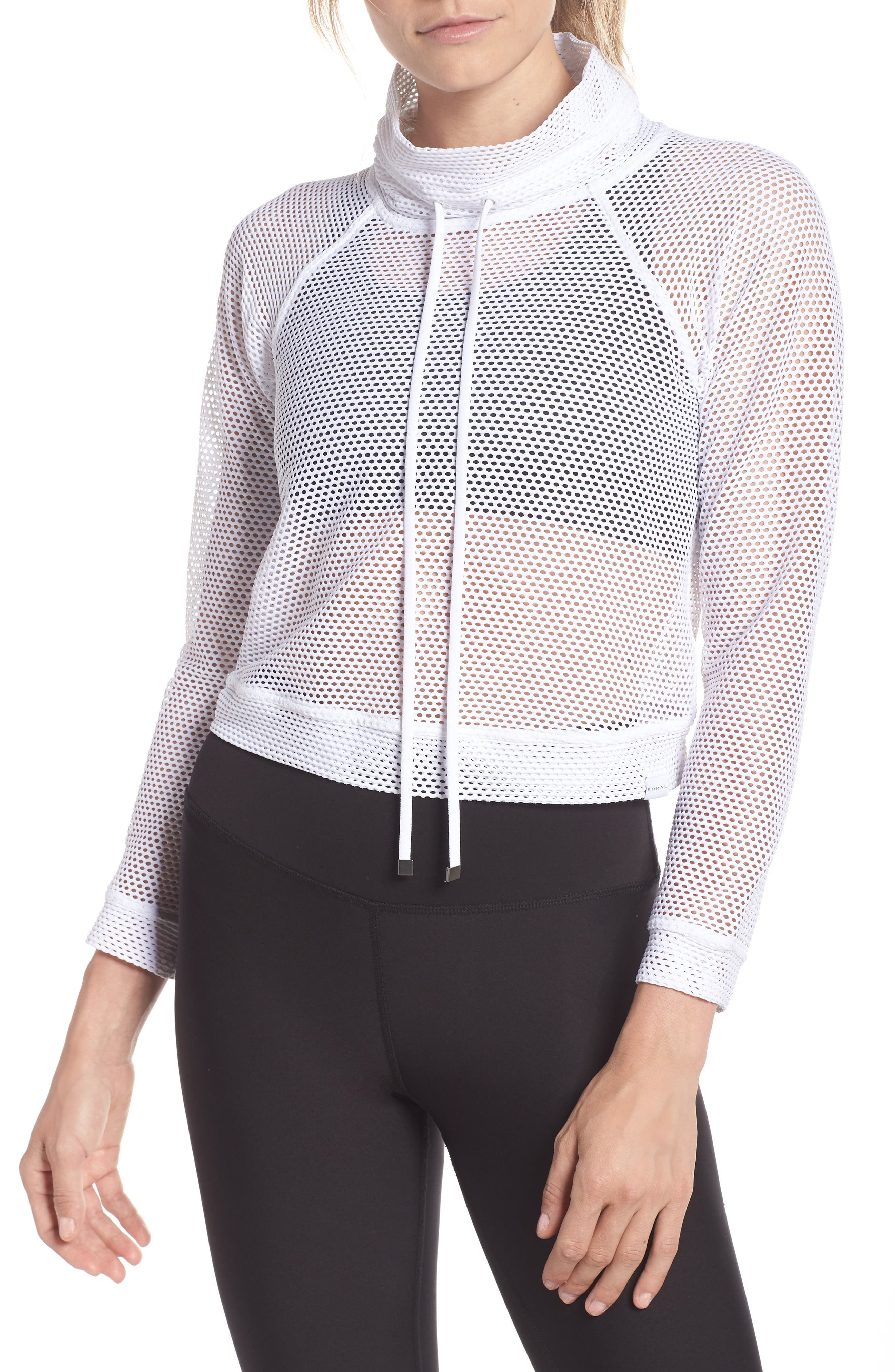 Mesh Pullover,                         Main,                         color, WHITE