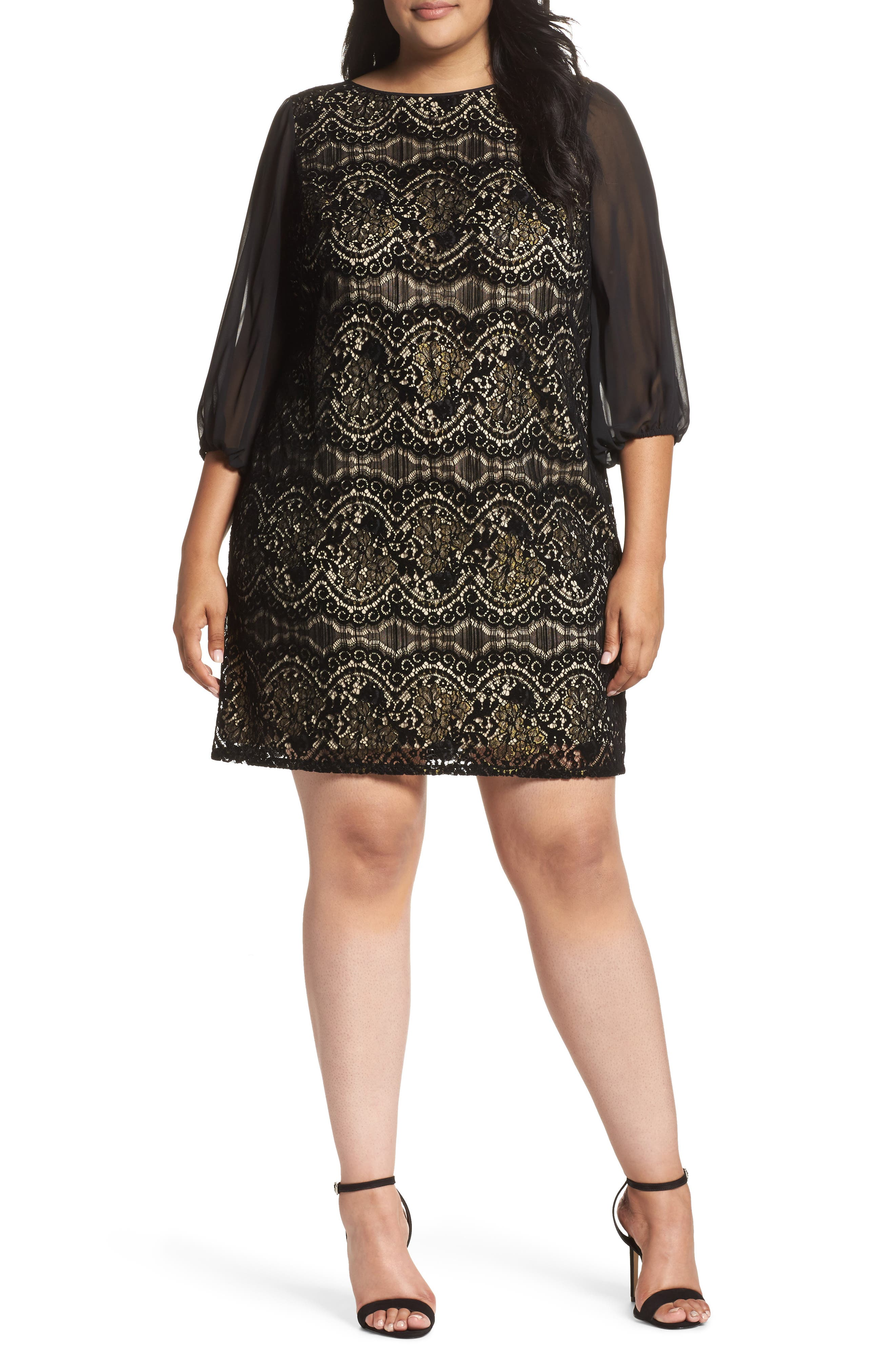 Flocked Lace Shift Dress,                         Main,                         color, 001