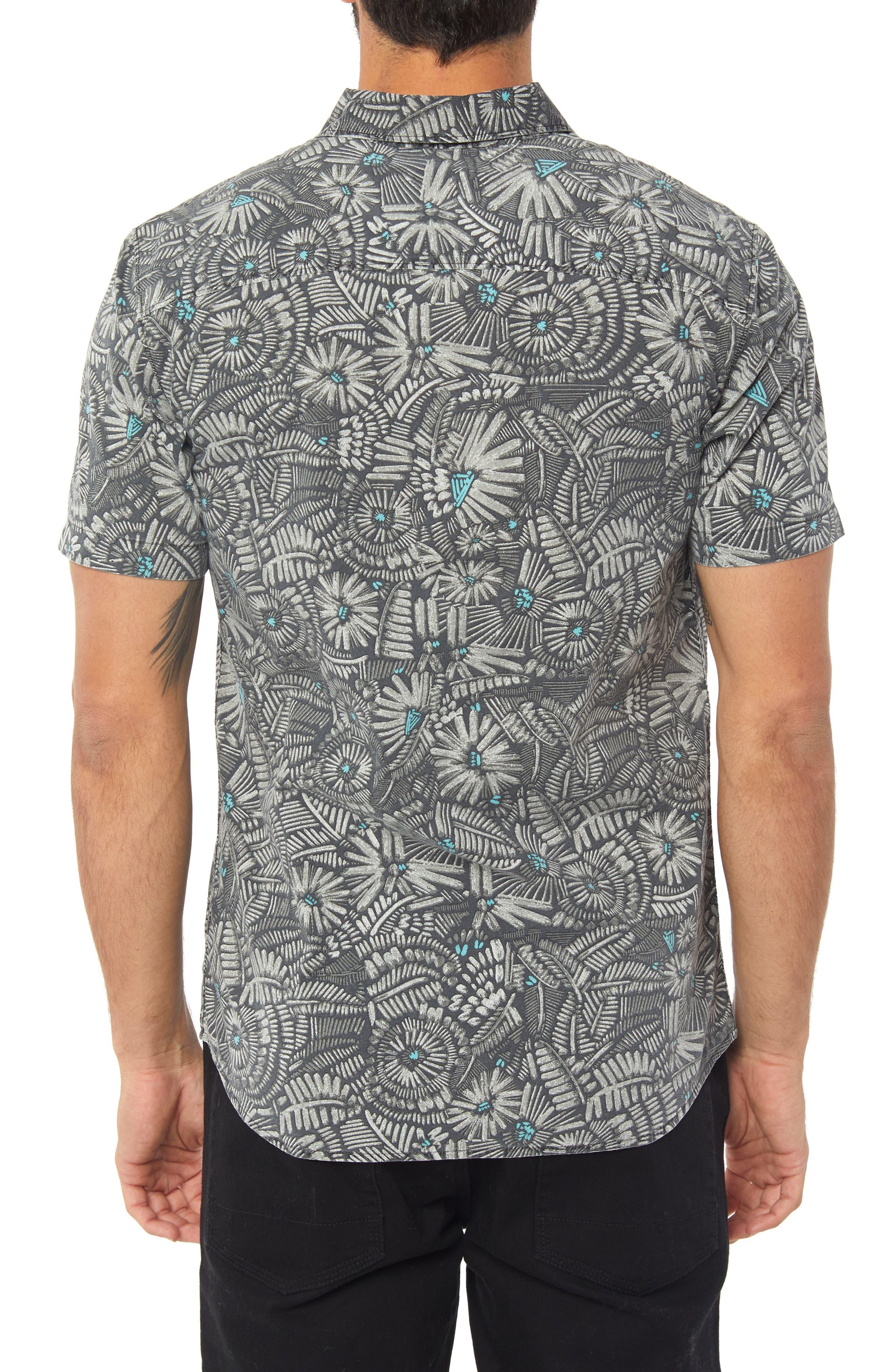 Short Sleeve Print Camp Shirt,                             Alternate thumbnail 2, color,                             BLACK