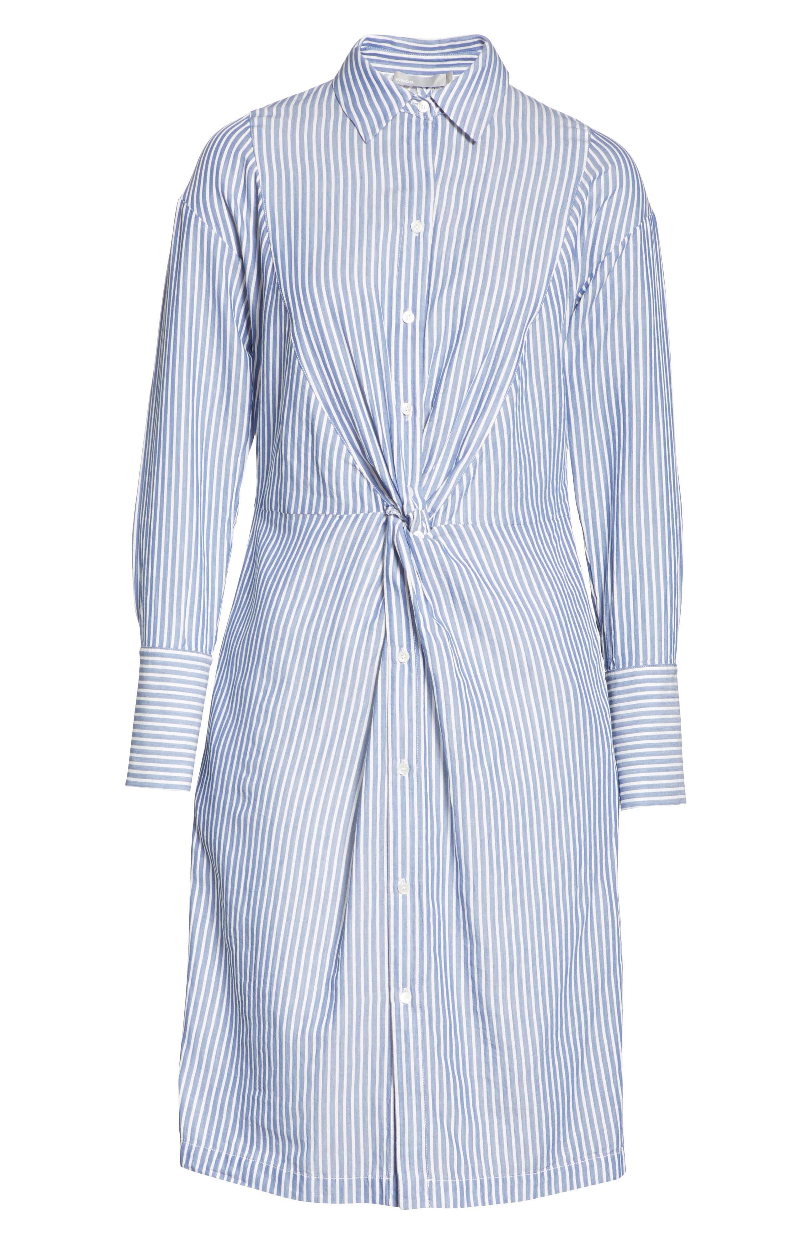 Classic Stripe Twist Cotton Blend Shirtdress,                             Alternate thumbnail 7, color,                             460