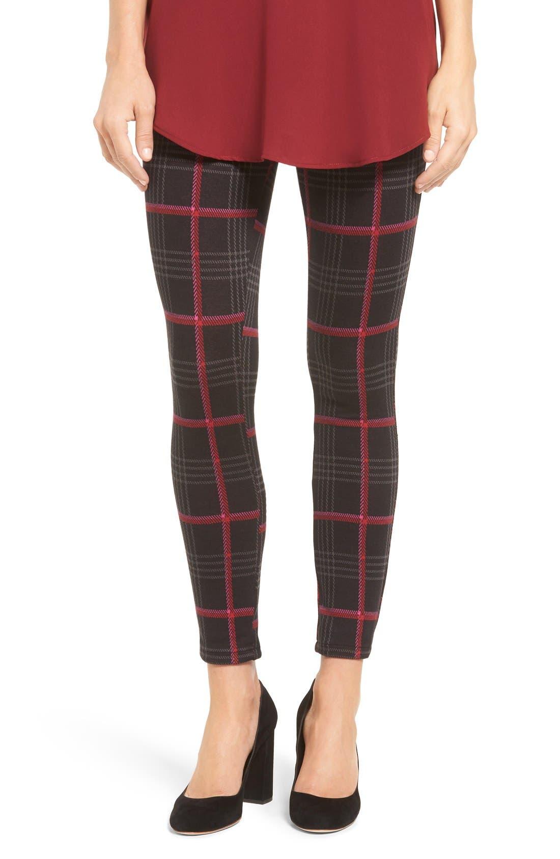 'Glen Plaid' Trouser Leggings, Main, color, 001