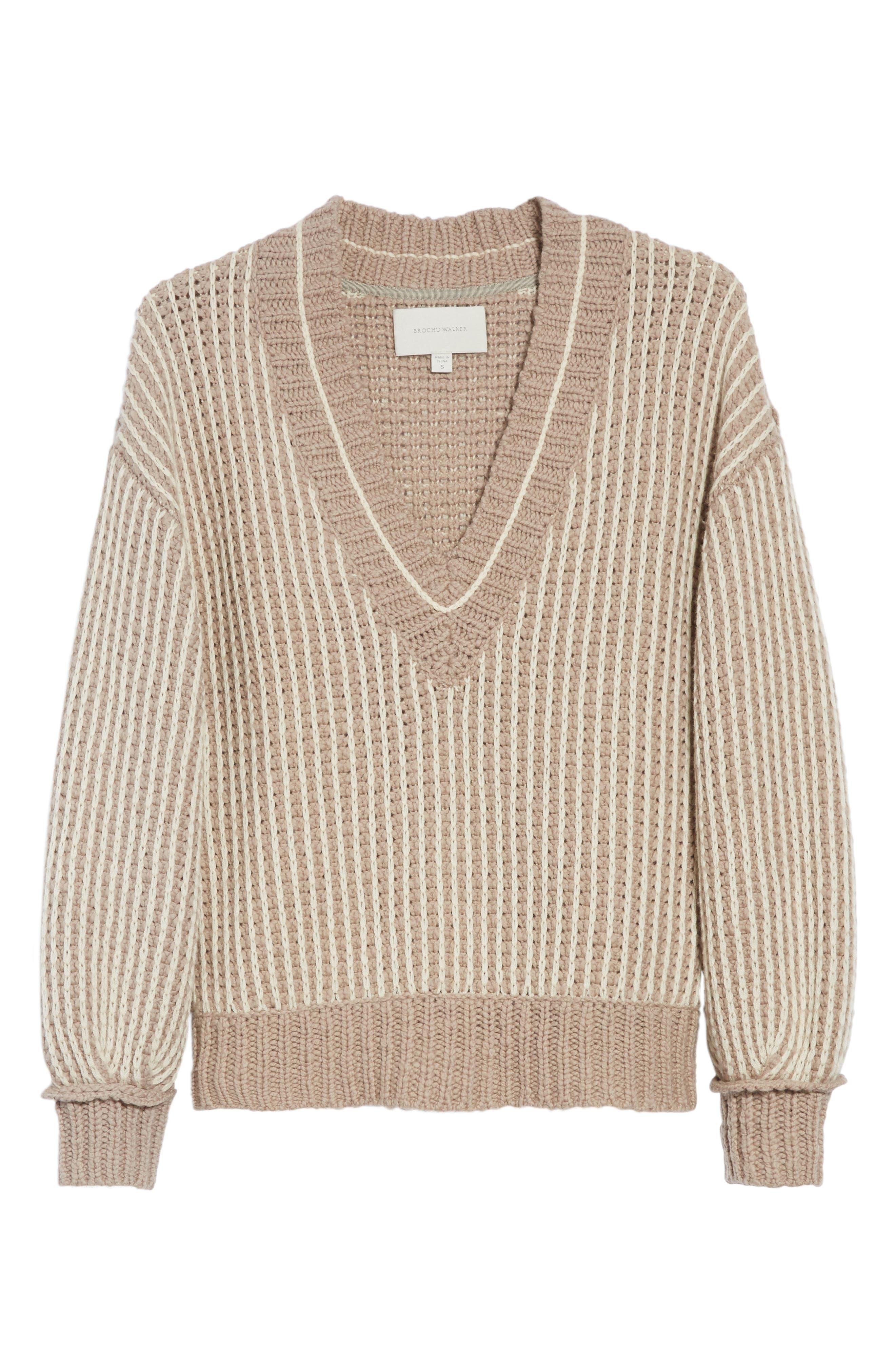 Jessen Stripe Wool & Cashmere Sweater,                             Alternate thumbnail 6, color,                             210