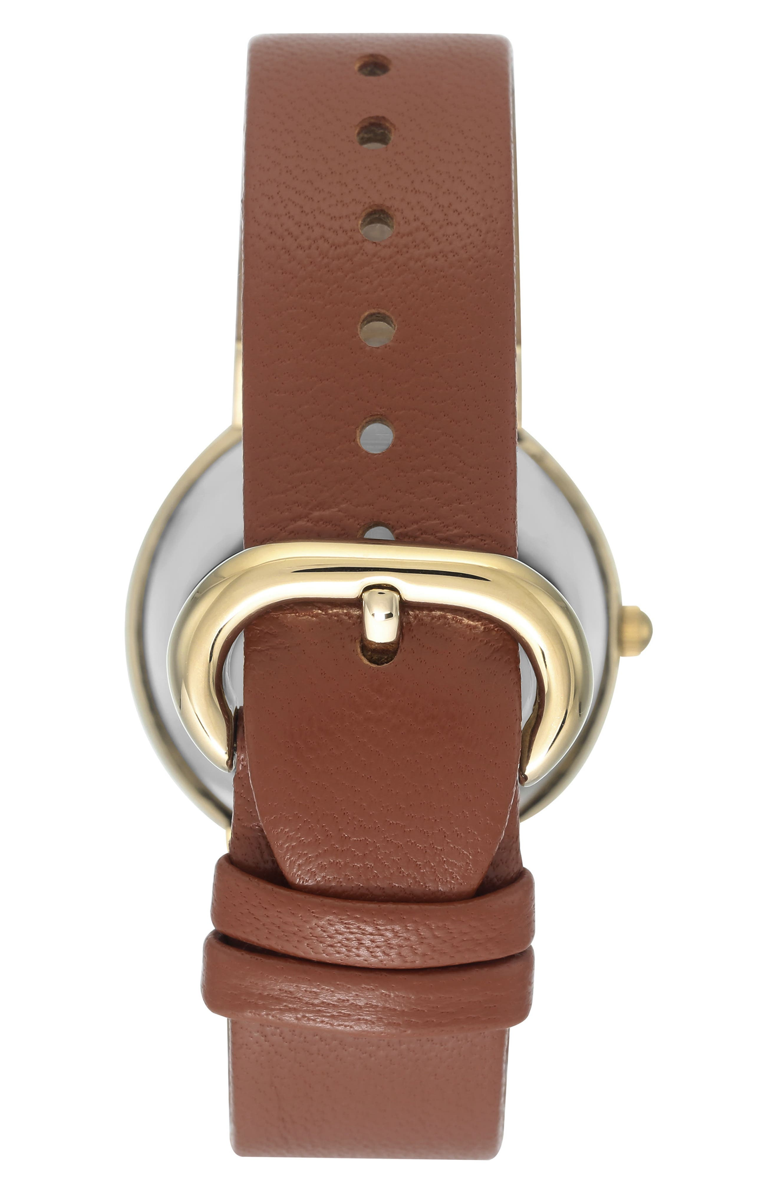 Round Leather Strap Watch, 36mm,                             Alternate thumbnail 5, color,