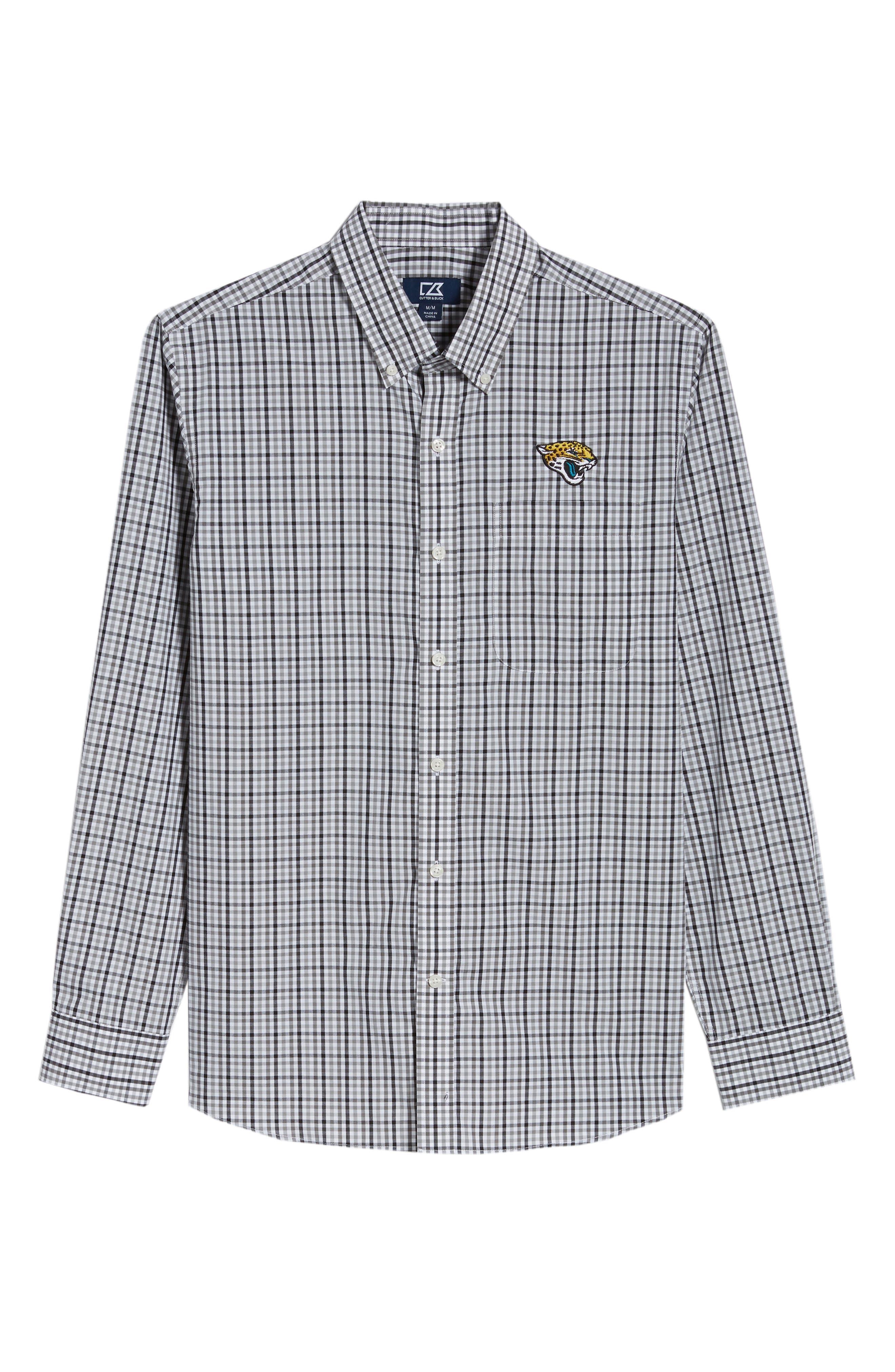 Jacksonville Jaguars - Gilman Regular Fit Plaid Sport Shirt,                             Alternate thumbnail 6, color,                             BLACK