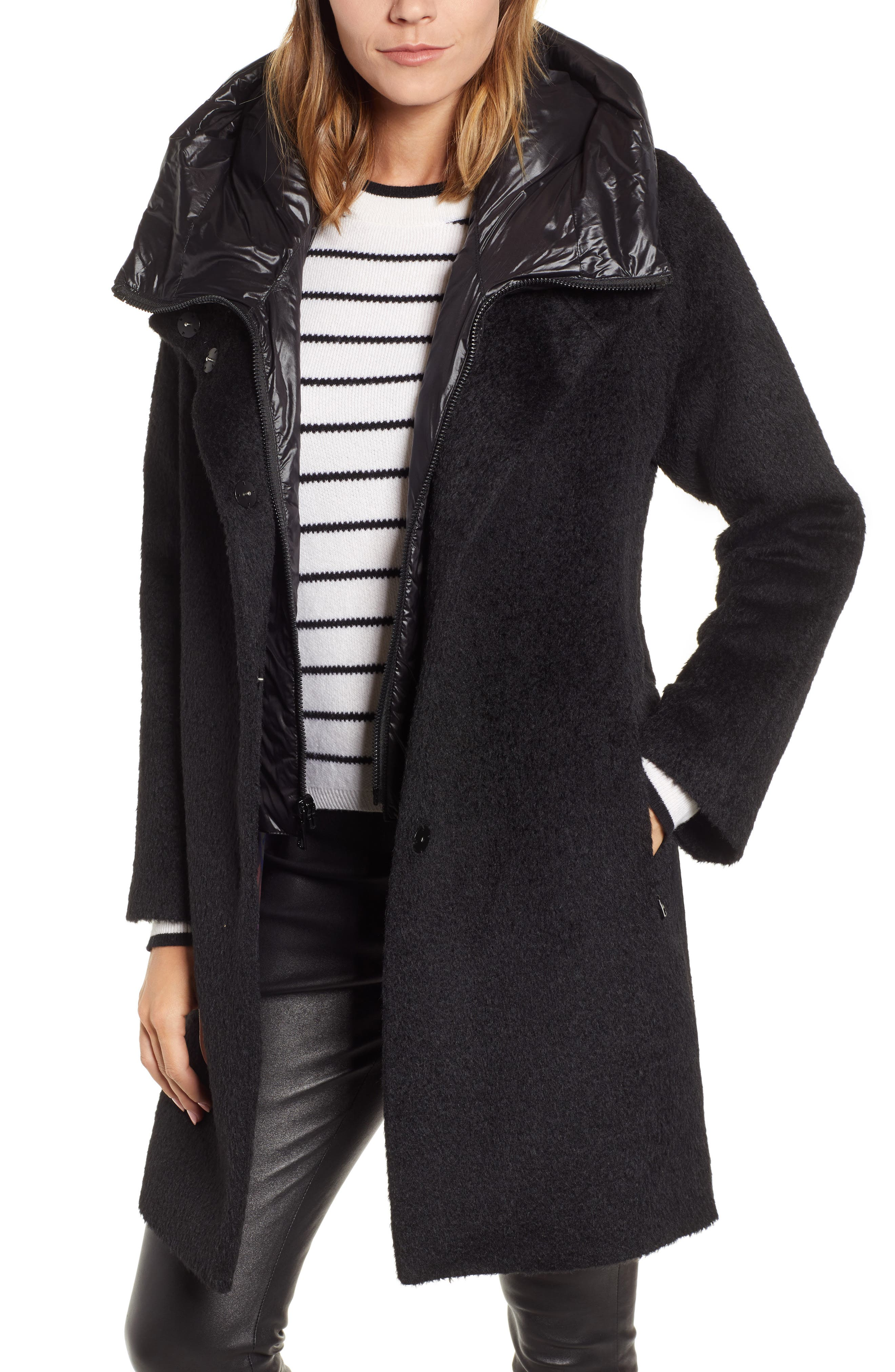 Coat with Hooded Bib,                         Main,                         color, BLACK
